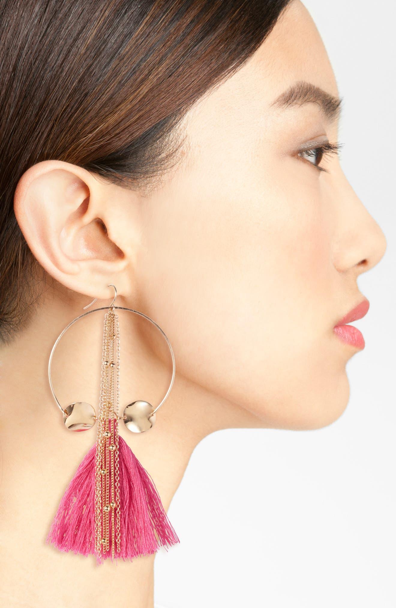 Tassel Hoop Earrings,                             Alternate thumbnail 2, color,                             Pink/ Gold
