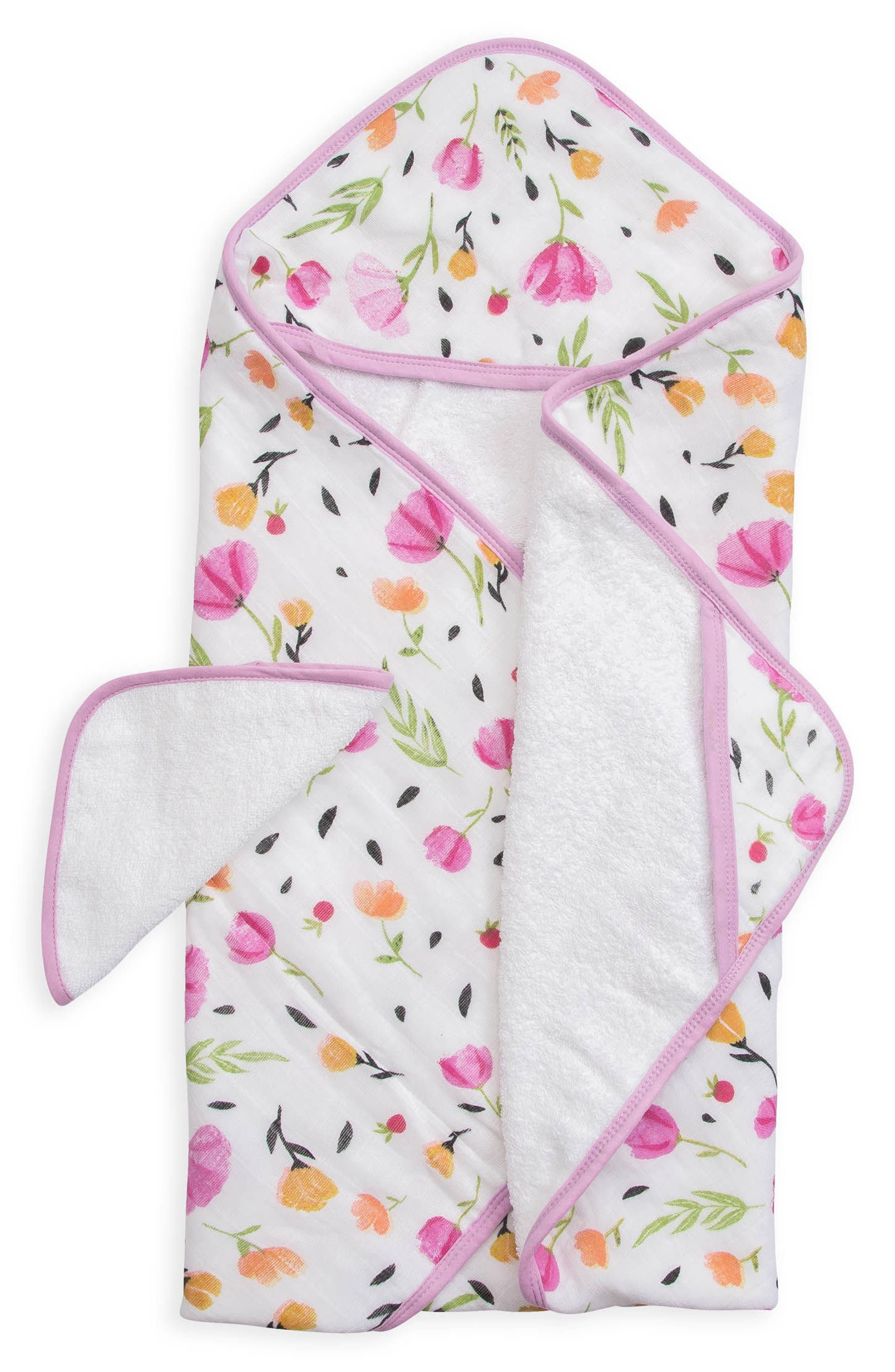 Hooded Towel & Wash Cloth Set,                             Main thumbnail 1, color,                             Berry Bloom