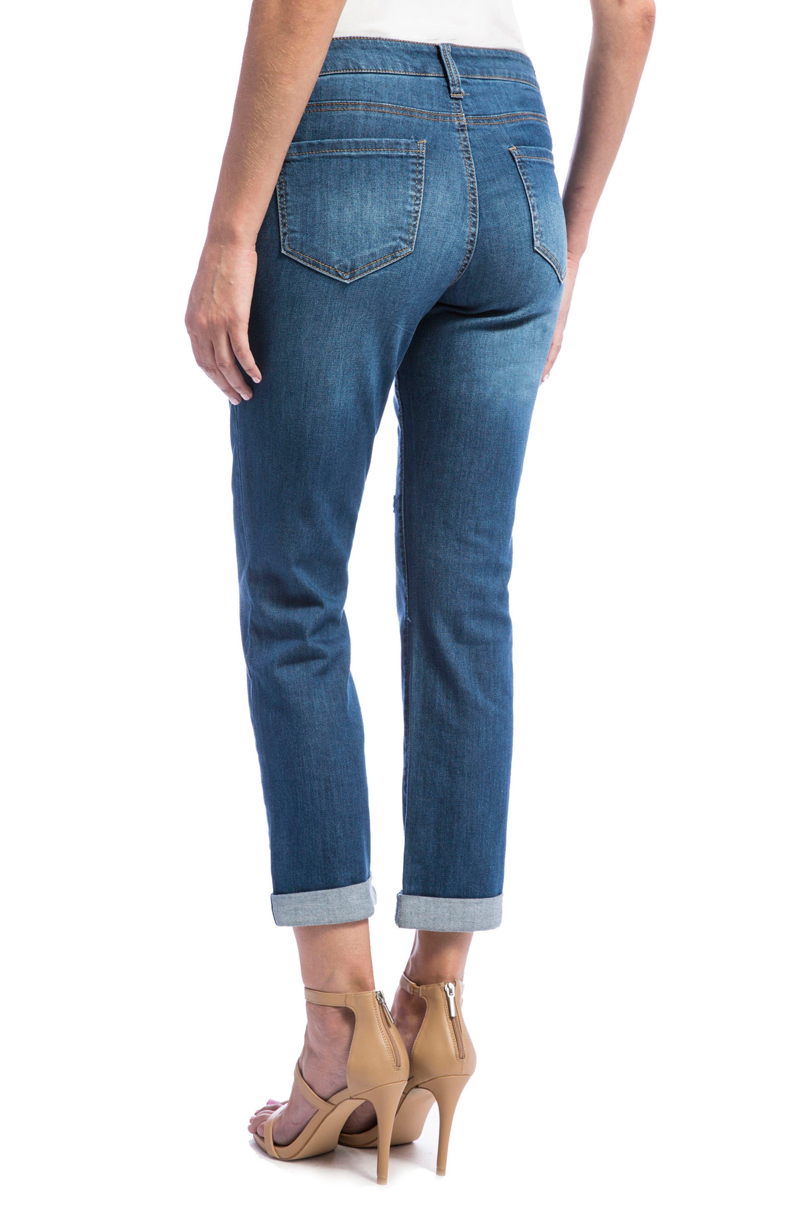 Jeans Company Peyton Slim Stretch Crop Boyfriend Jeans,                             Alternate thumbnail 2, color,                             Montauk Mid/ Destruction