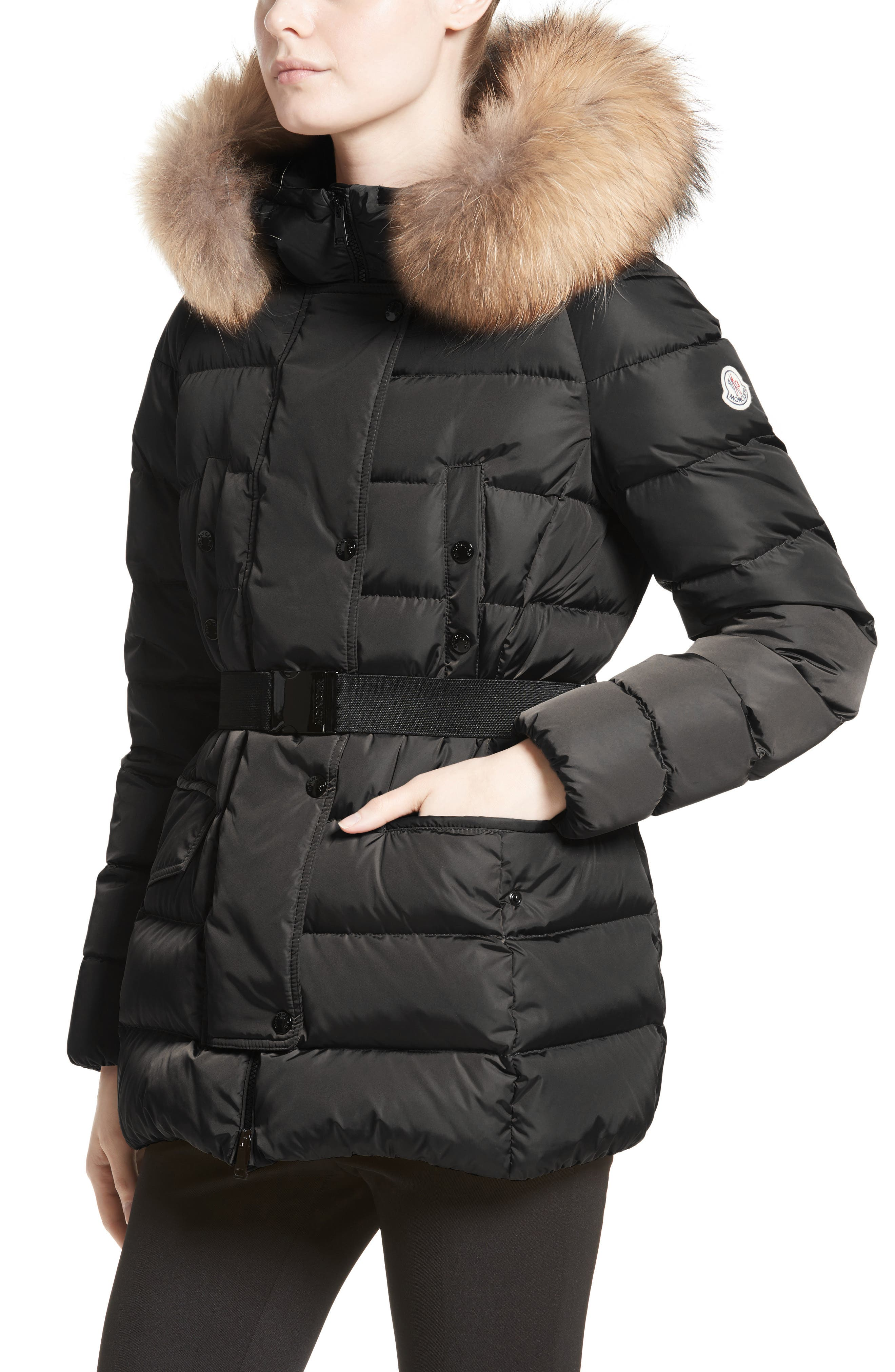 Clio Belted Down Puffer Coat with Removable Genuine Fox Fur Trim,                             Alternate thumbnail 4, color,                             Black