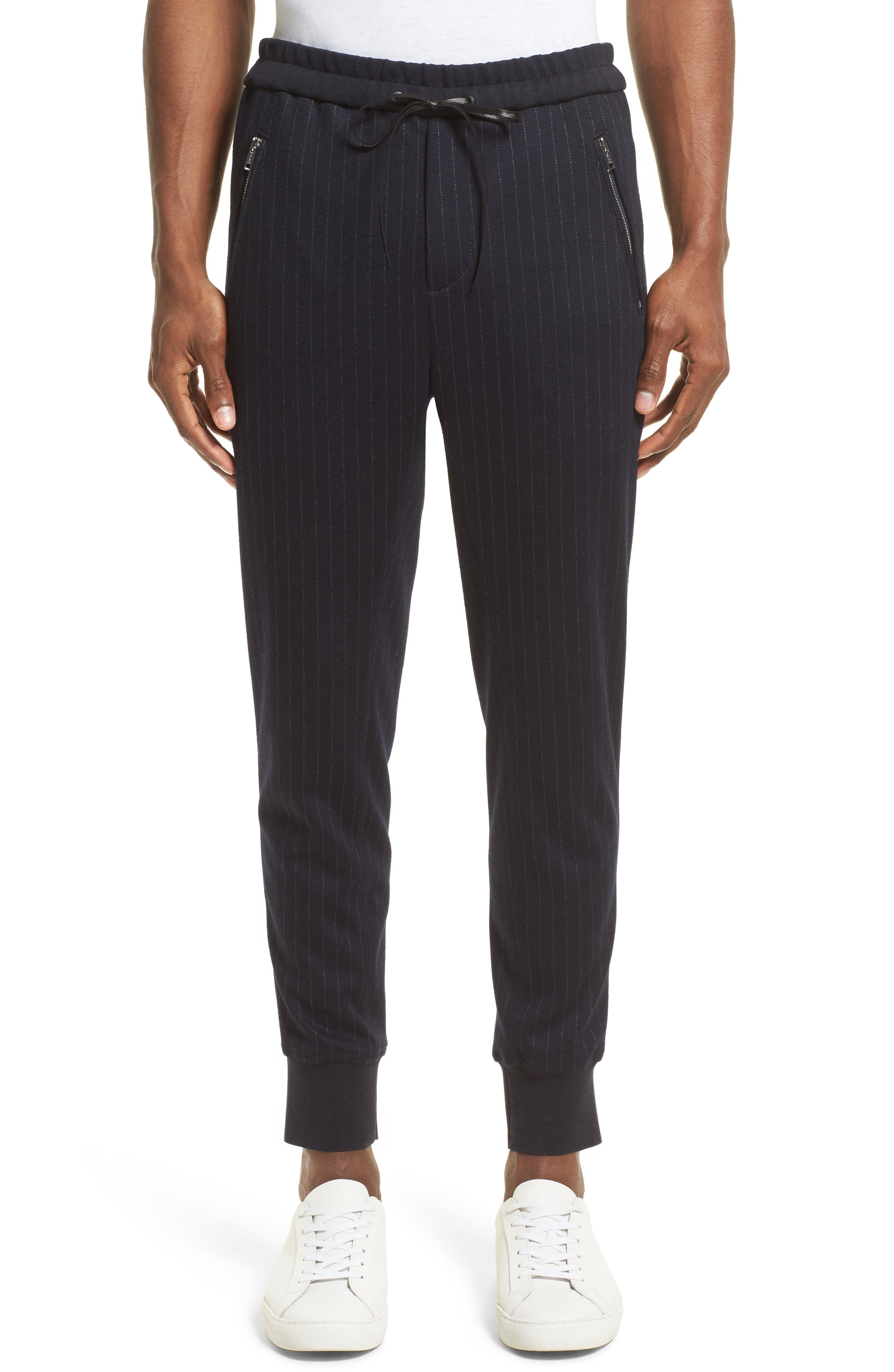 Pinstripe Tapered Jogger Pants,                         Main,                         color, Navy/ White