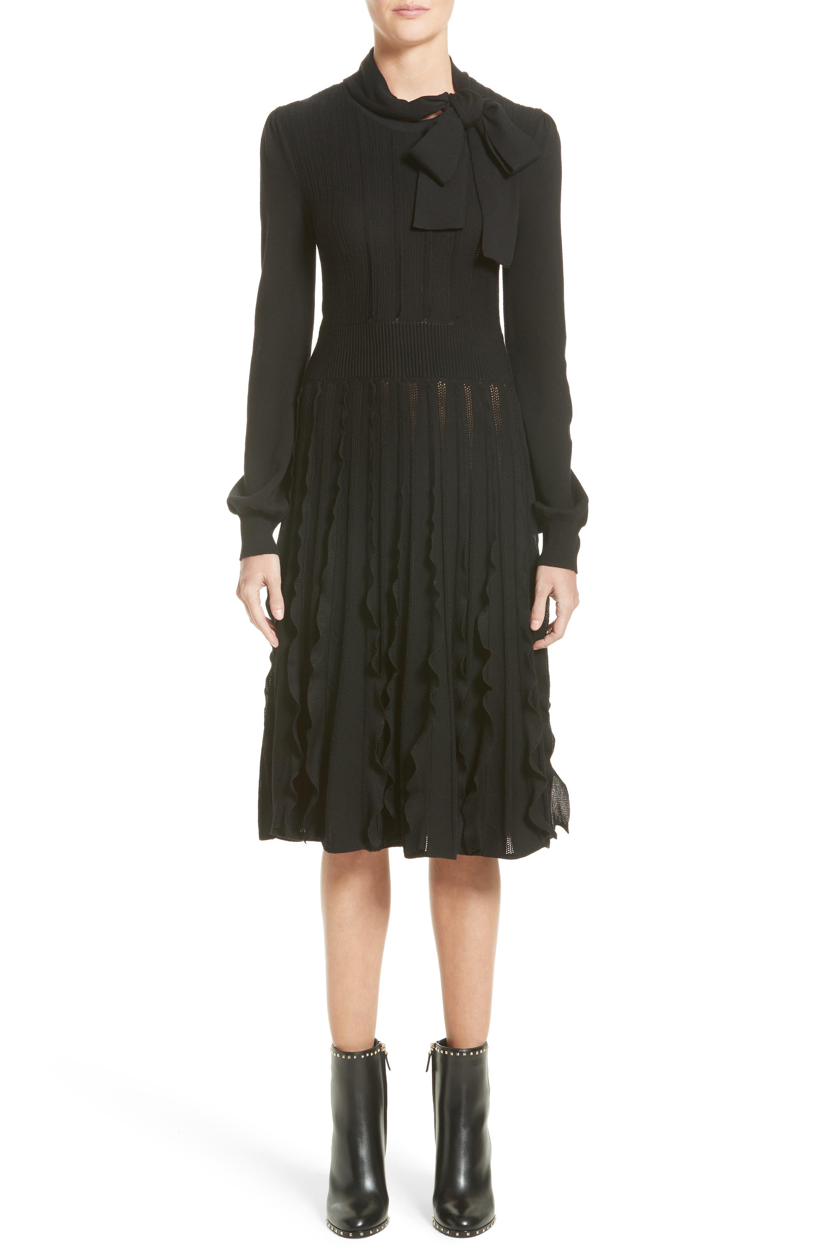 Ruffle Skirt Wool Knit Dress,                             Main thumbnail 1, color,                             Black