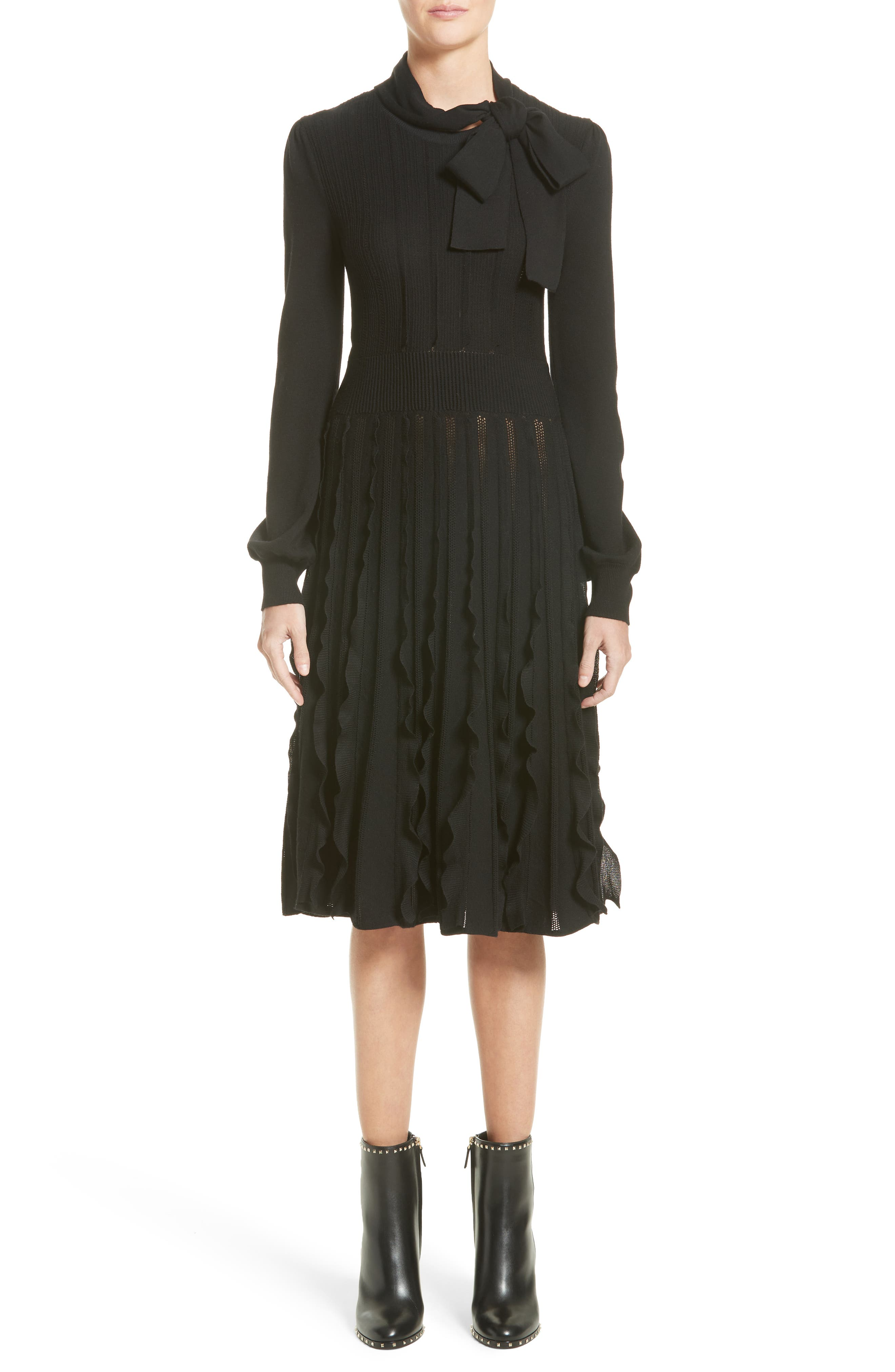 Ruffle Skirt Wool Knit Dress,                         Main,                         color, Black
