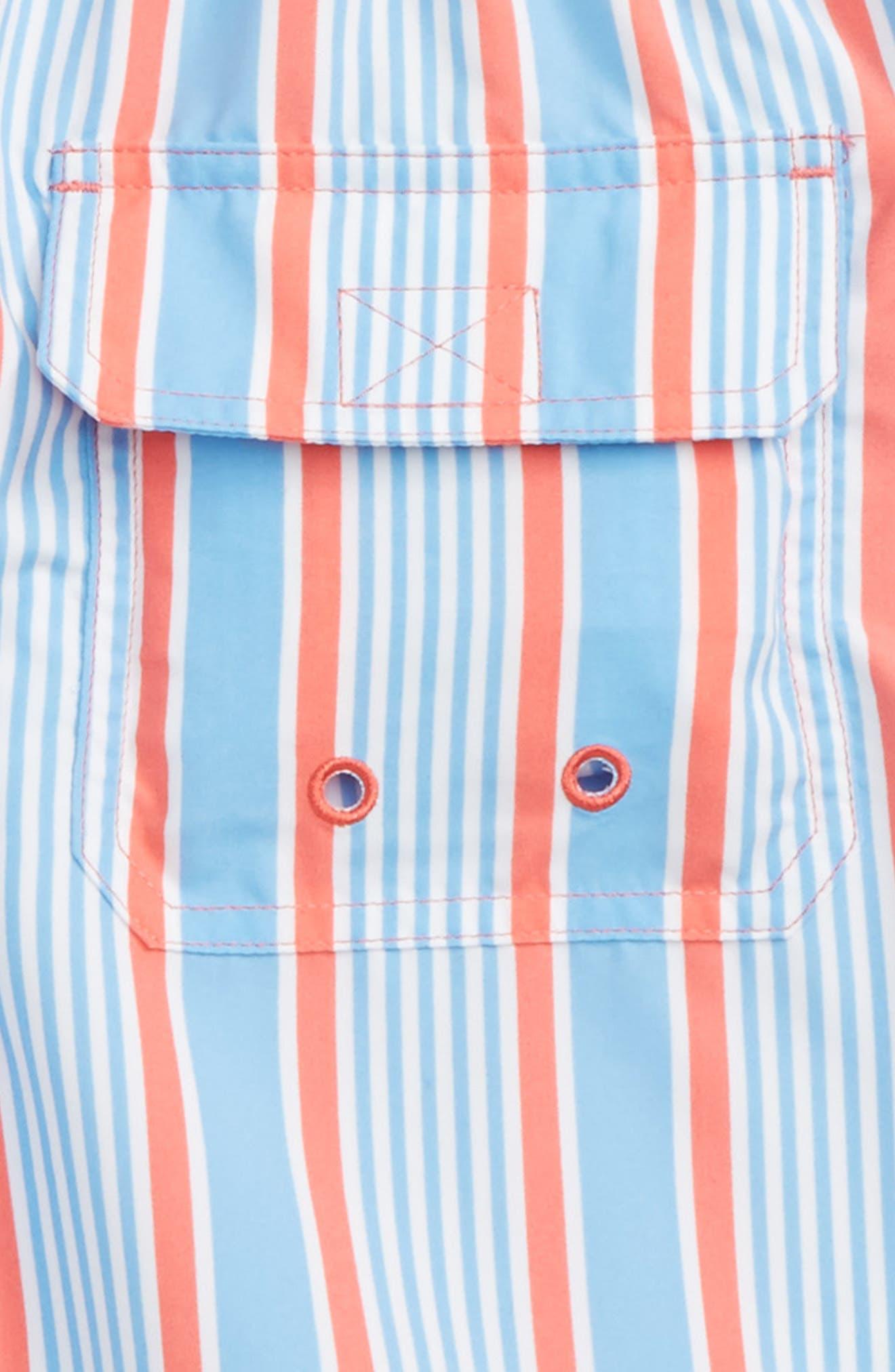 Stripe Bungalow Swim Trunks,                             Alternate thumbnail 3, color,                             Mai Tai