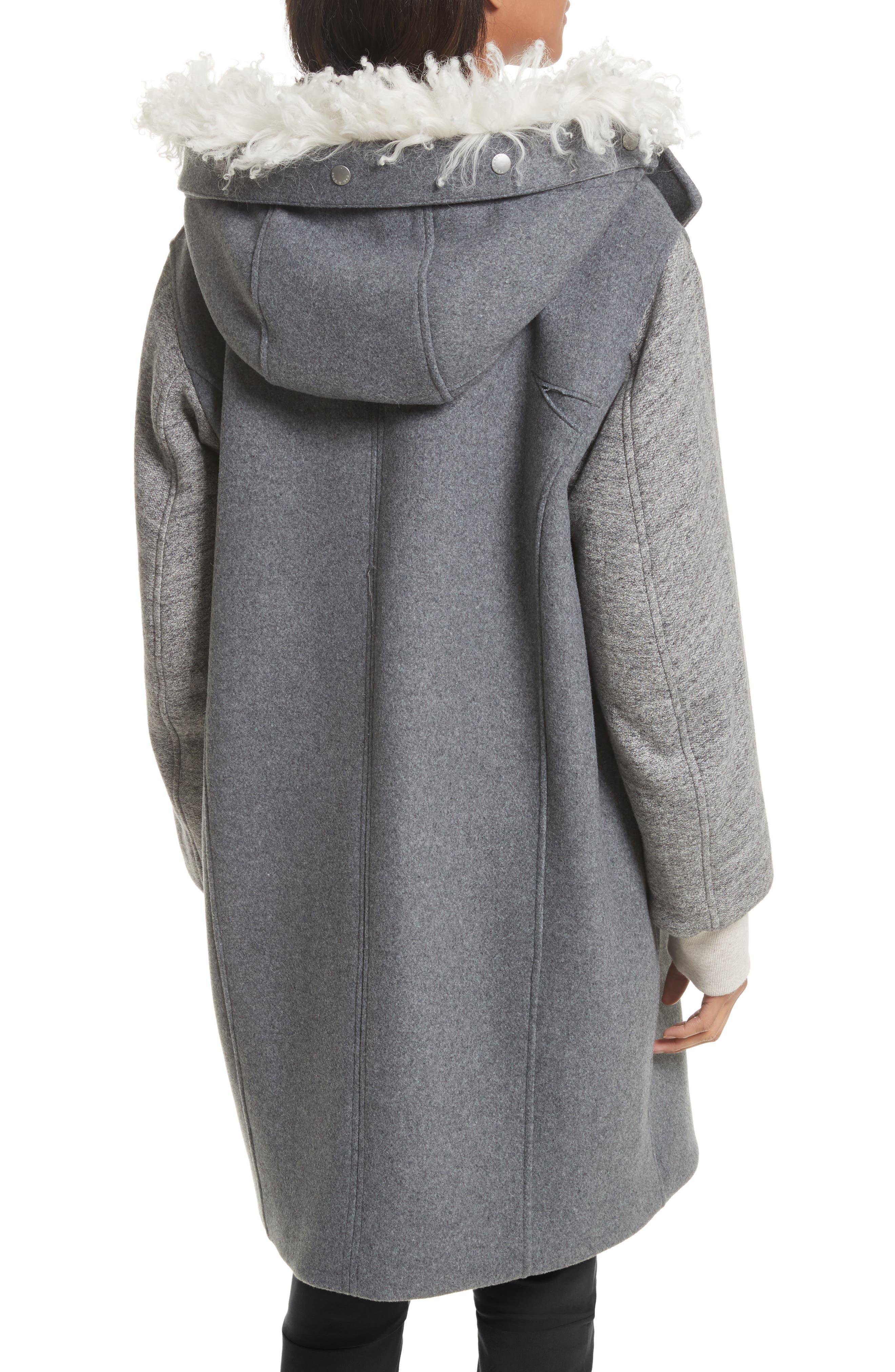Laporta Genuine Shearling Trim Wool Blend Hooded Coat,                             Alternate thumbnail 3, color,                             Dark Grey