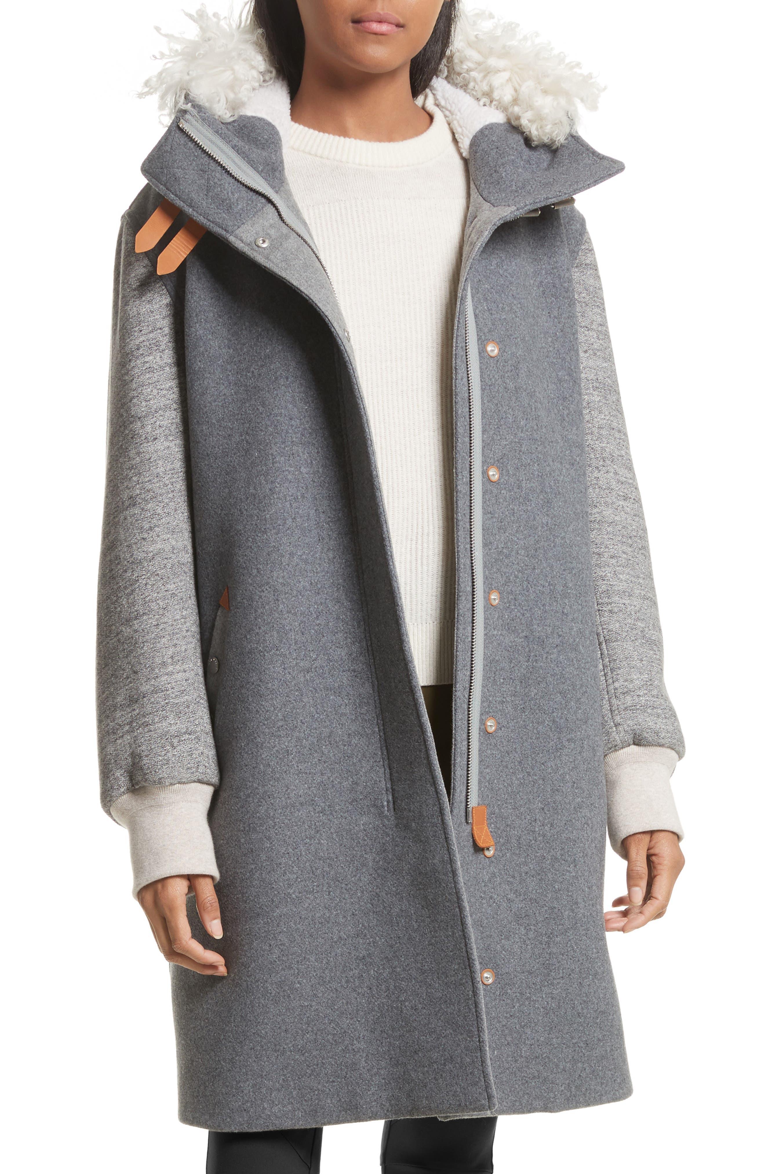 Laporta Genuine Shearling Trim Wool Blend Hooded Coat,                             Main thumbnail 1, color,                             Dark Grey