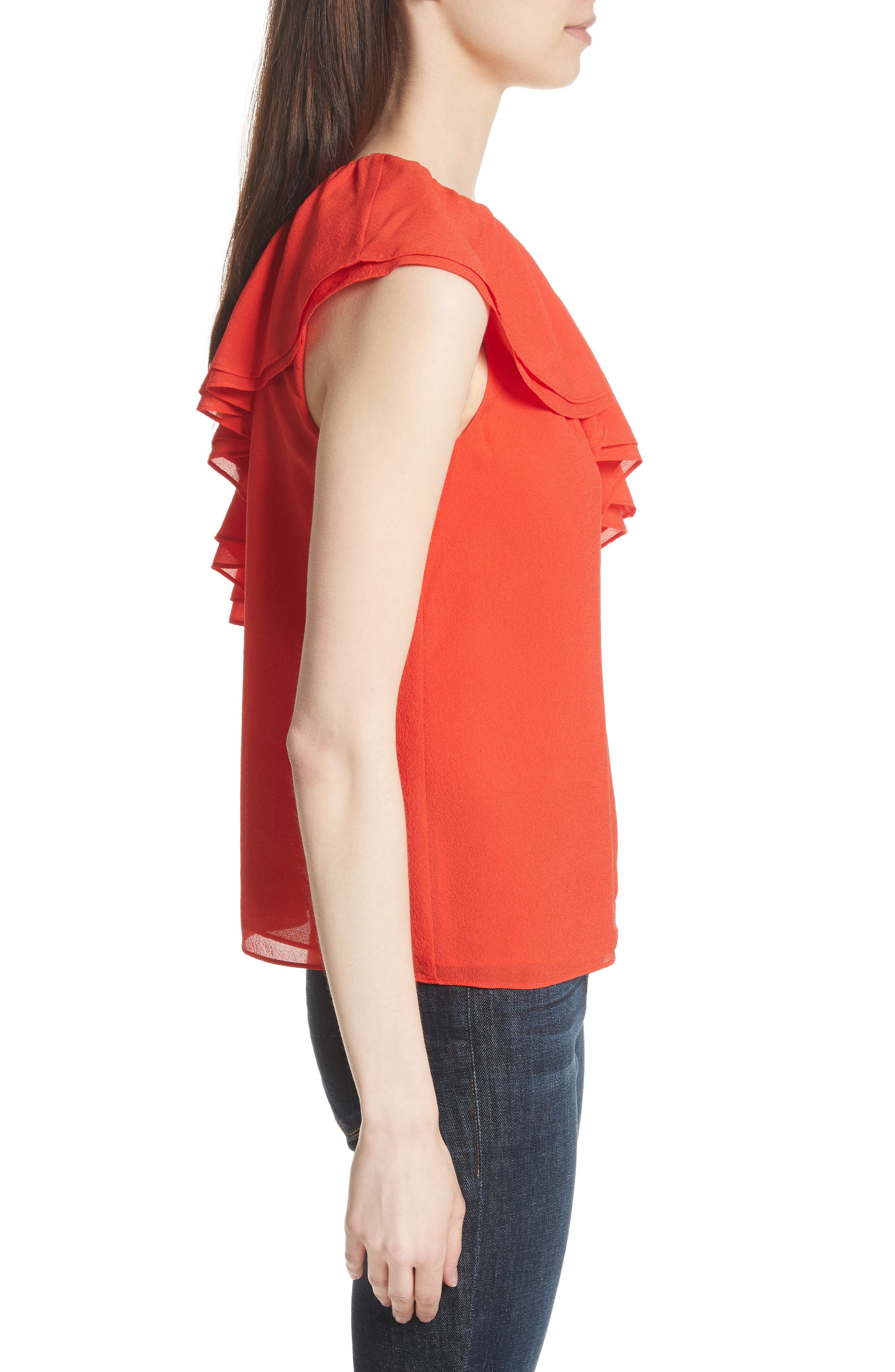 One-Shoulder Silk Top,                             Alternate thumbnail 3, color,                             Candy Apple