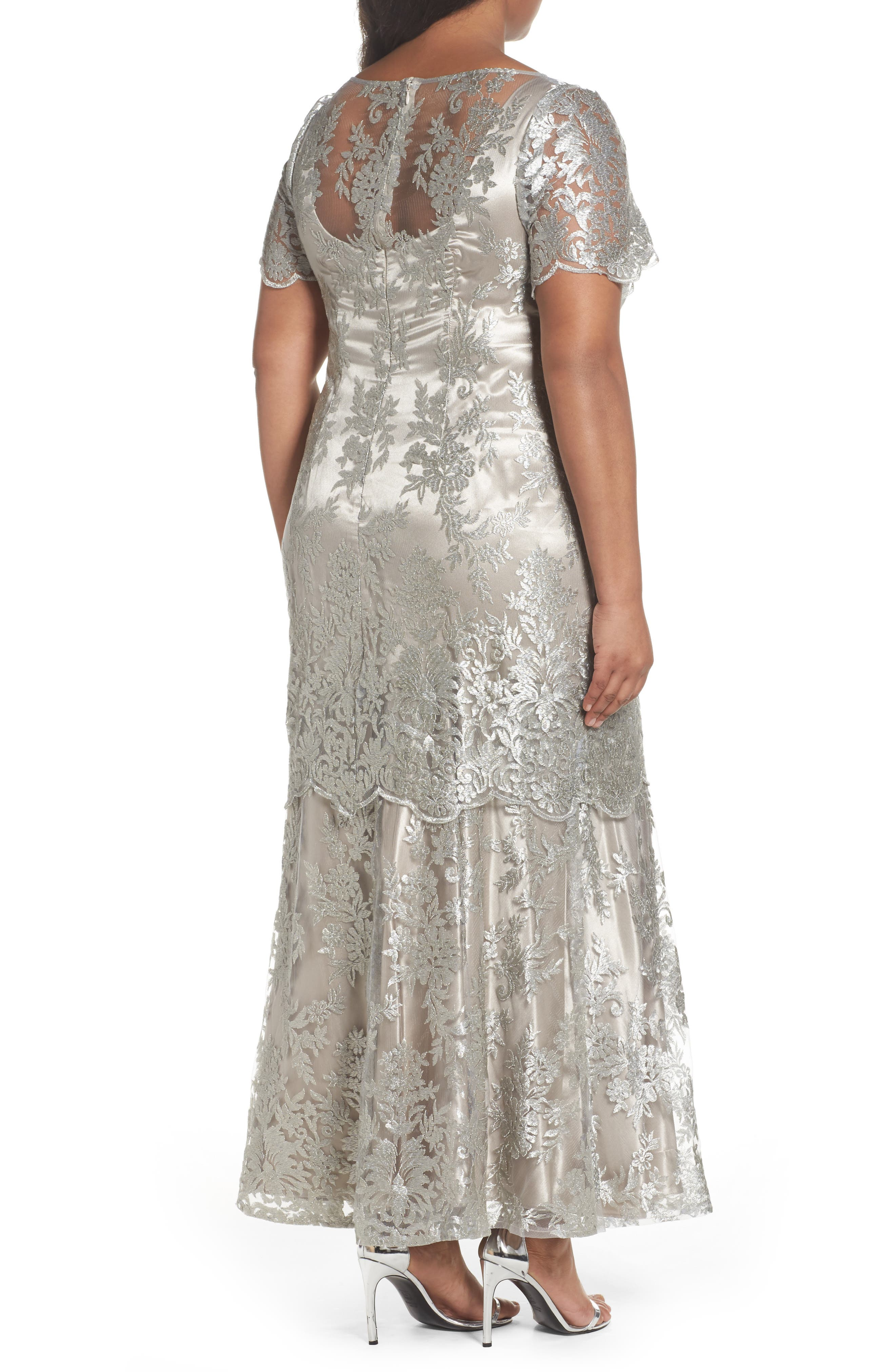 Embroidered Tiered Mermaid Gown,                             Alternate thumbnail 2, color,                             Platinum