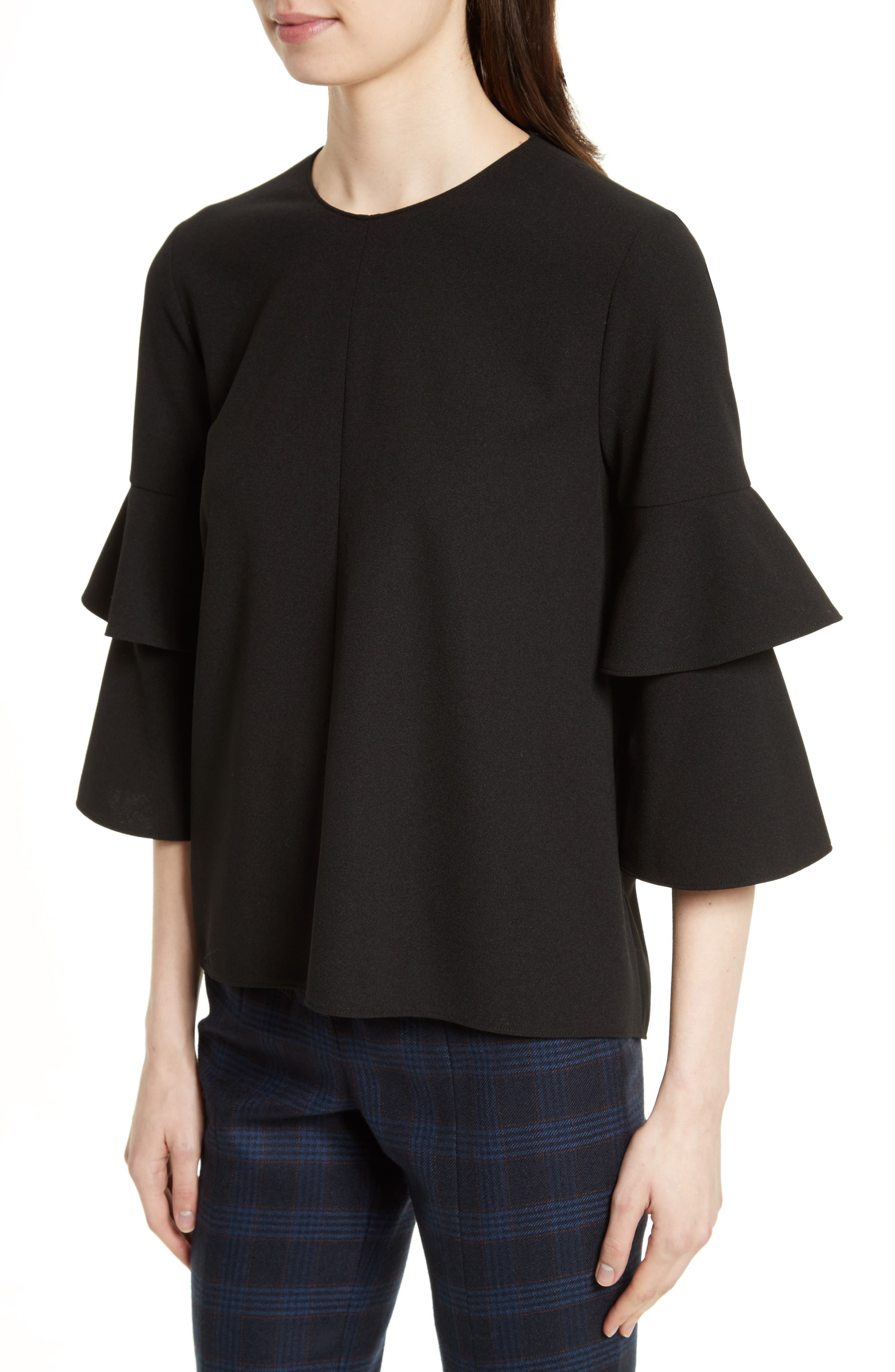 Bell Sleeve Stretch Crepe Top,                             Alternate thumbnail 4, color,                             Black