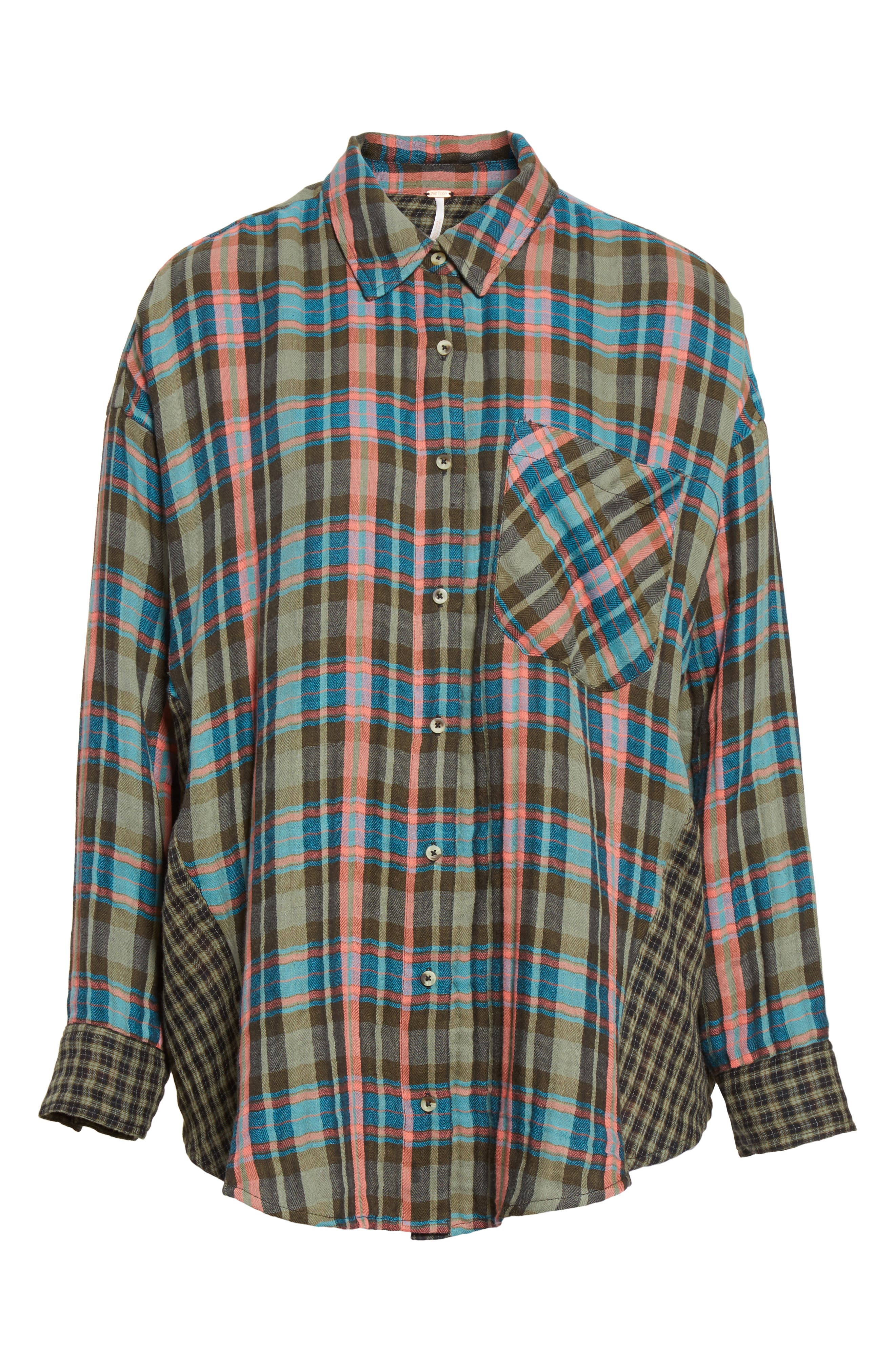 One of the Guys Plaid Shirt,                             Alternate thumbnail 6, color,                             Green Combo