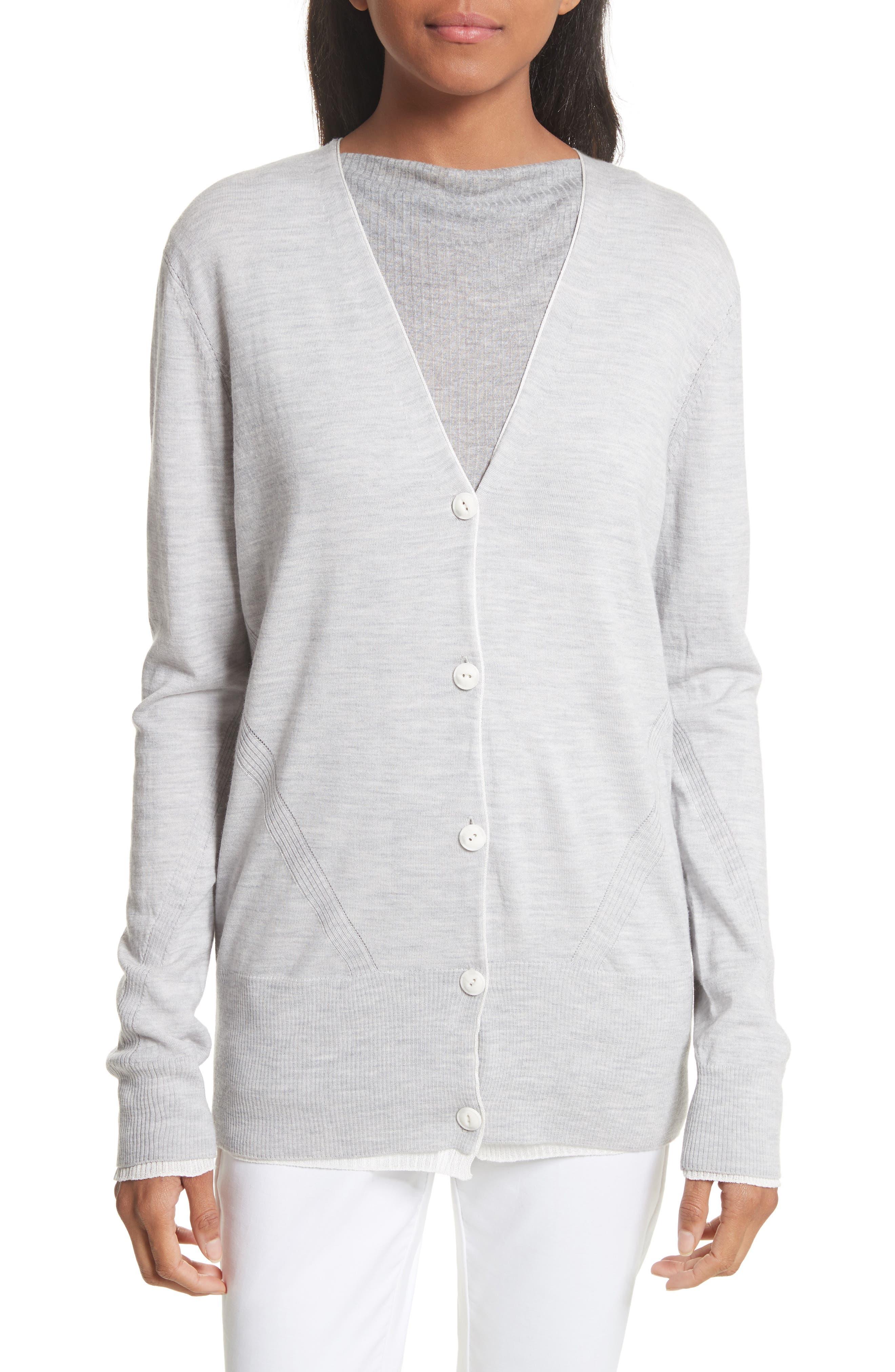 Alyssa Merino Wool Cardigan,                         Main,                         color, Grey