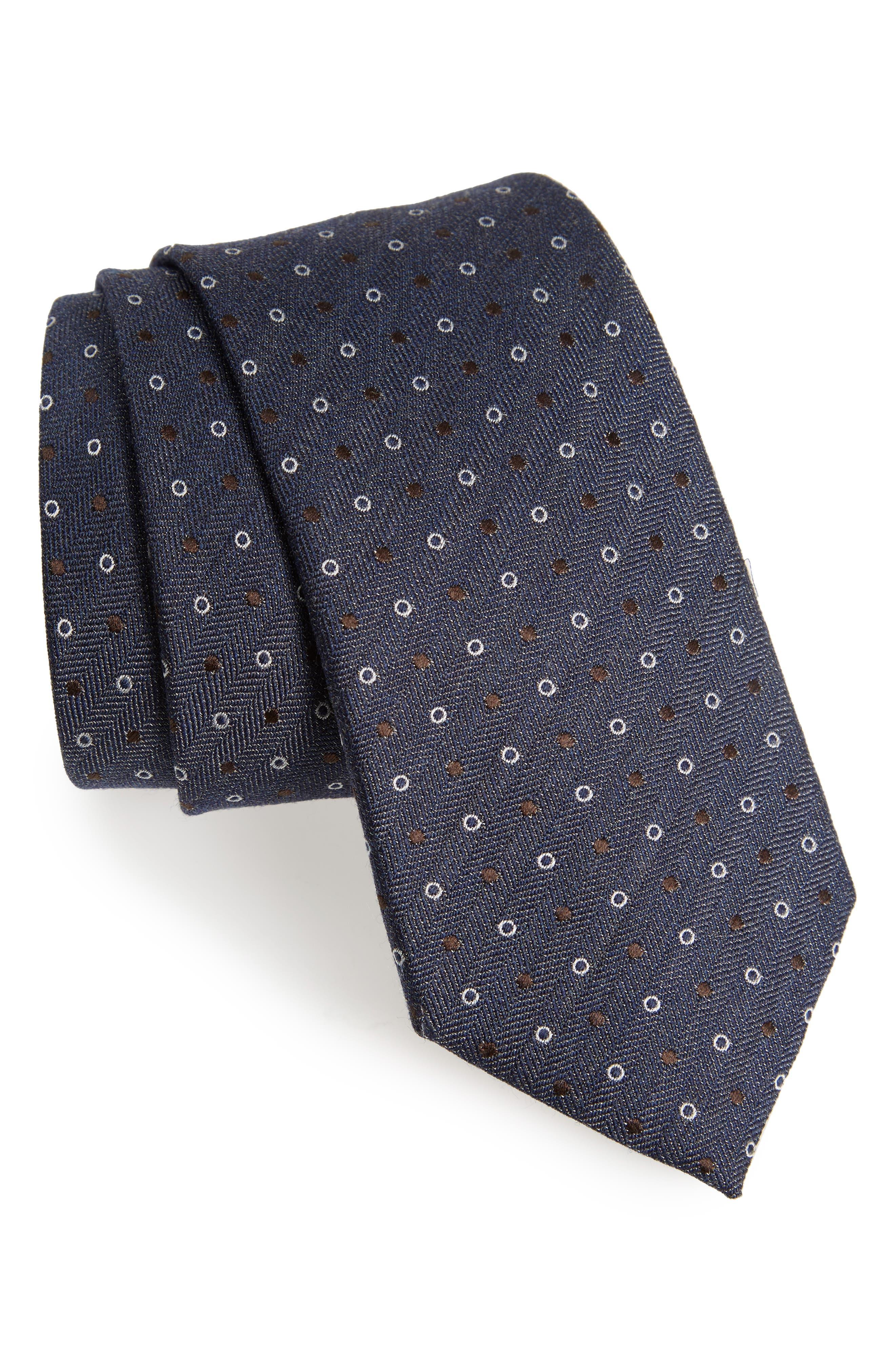 Dotted Wool & Silk Tie,                         Main,                         color, Dark Blue