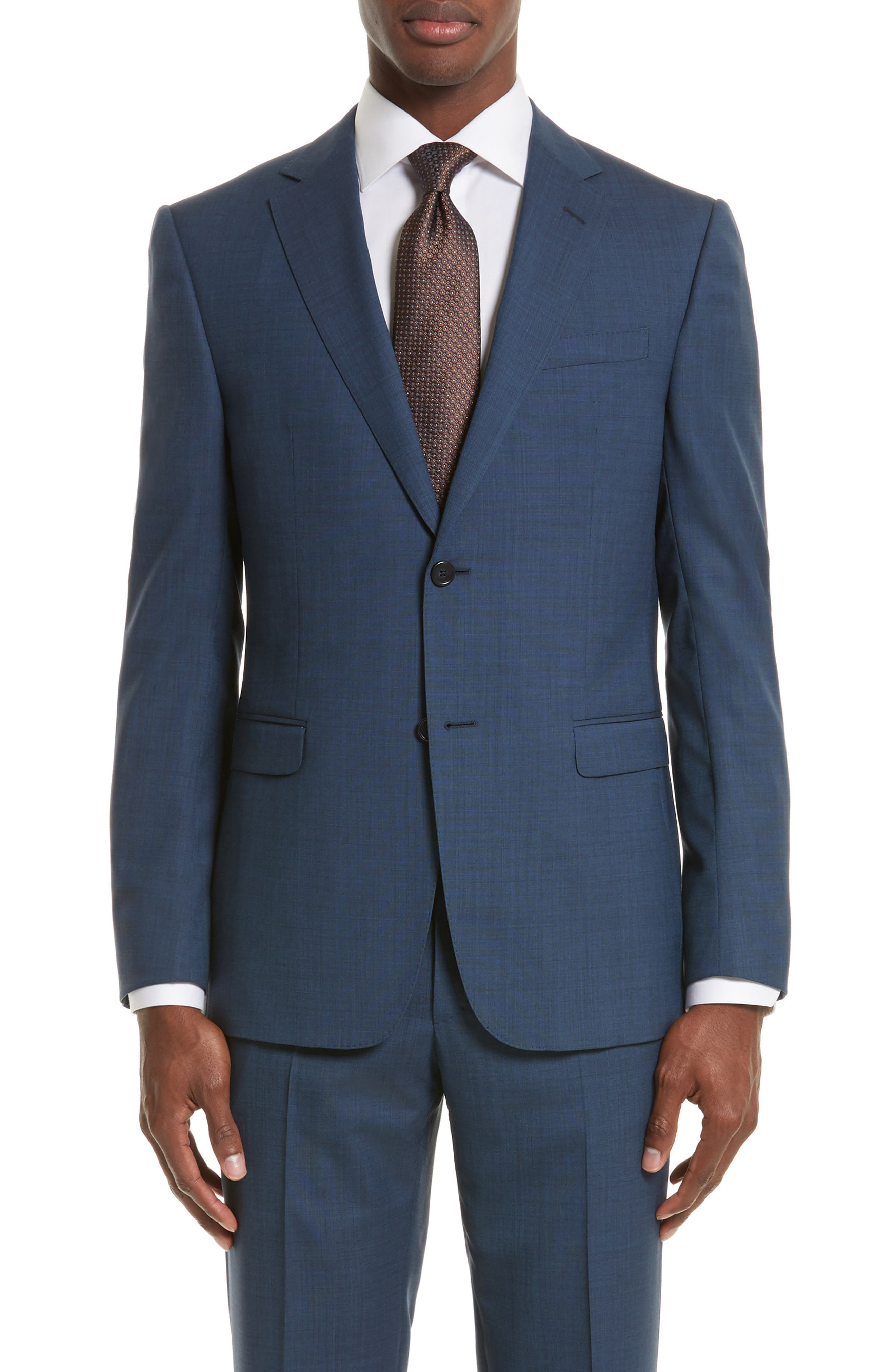 Drop 7 Trim Fit Solid Wool & Silk Suit,                             Alternate thumbnail 5, color,                             Navy