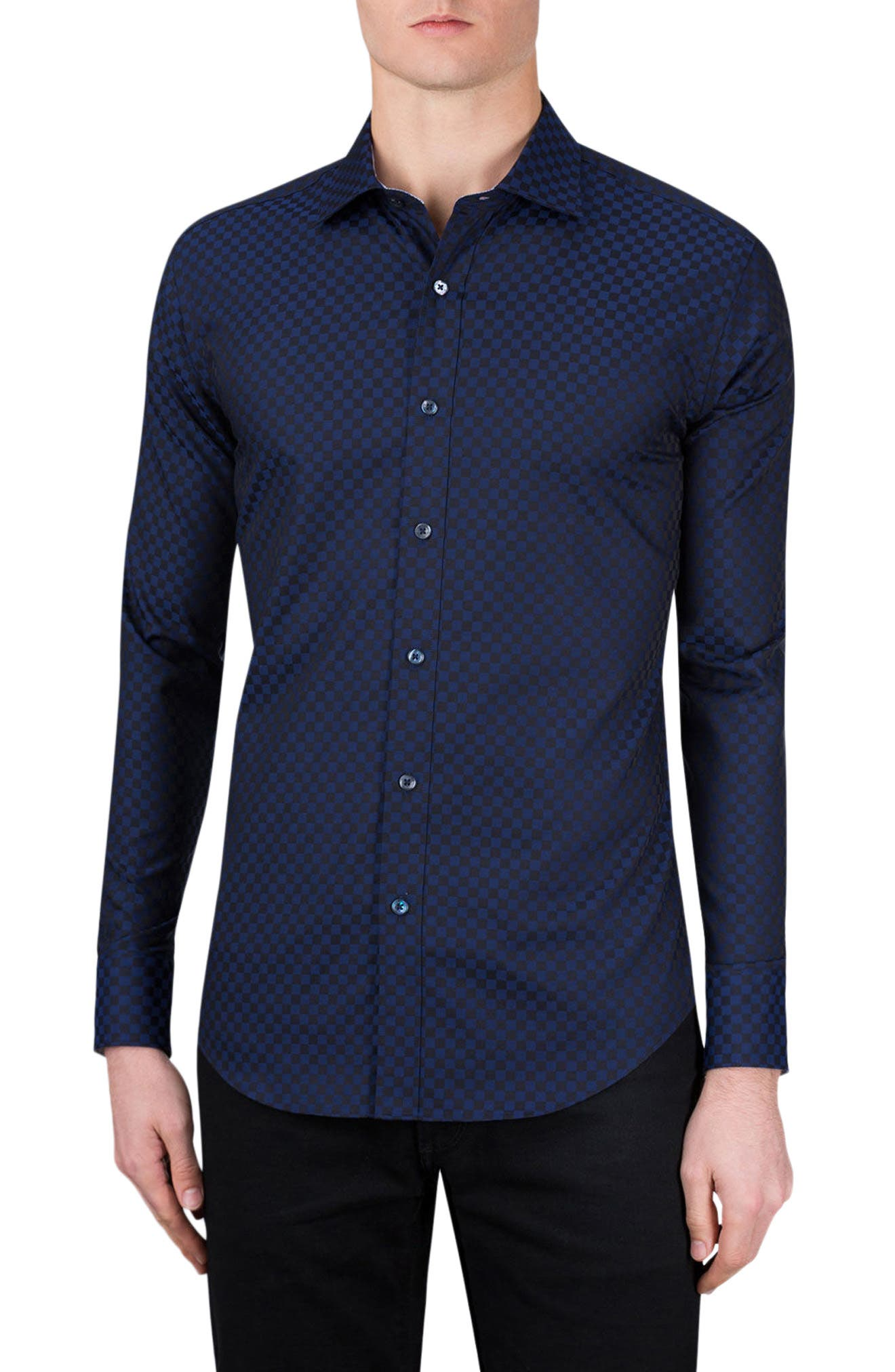 Classic Fit Checkerboard Sport Shirt,                         Main,                         color, Midnight