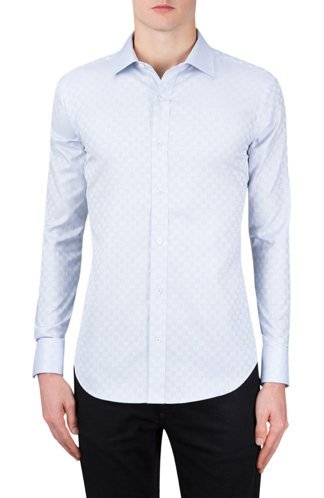Shaped Fit Checker Print Sport Shirt,                         Main,                         color, Silver