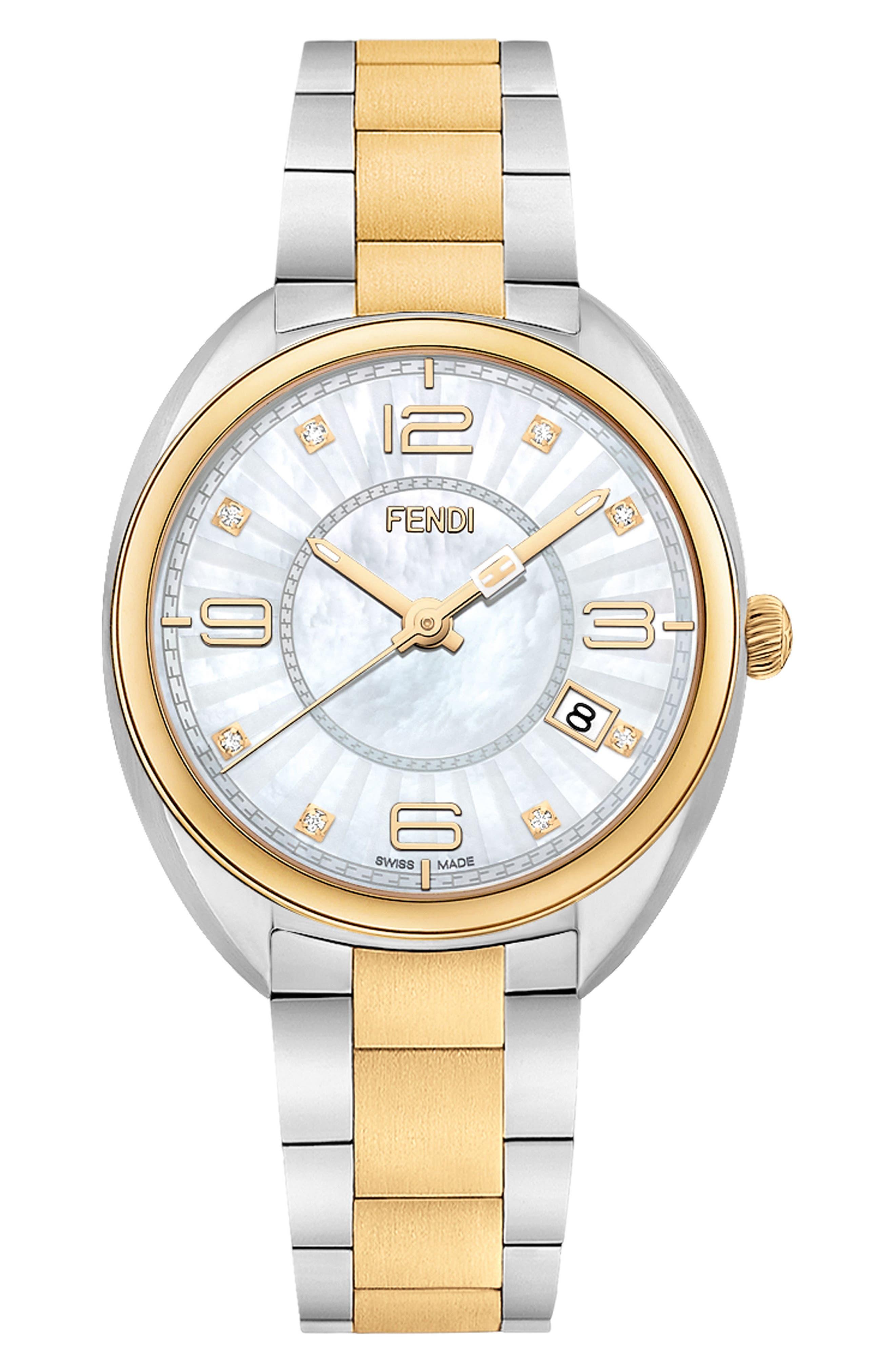 Momento Diamond Bracelet Watch, 34mm,                             Main thumbnail 1, color,                             Silver/ Mop/ Gold