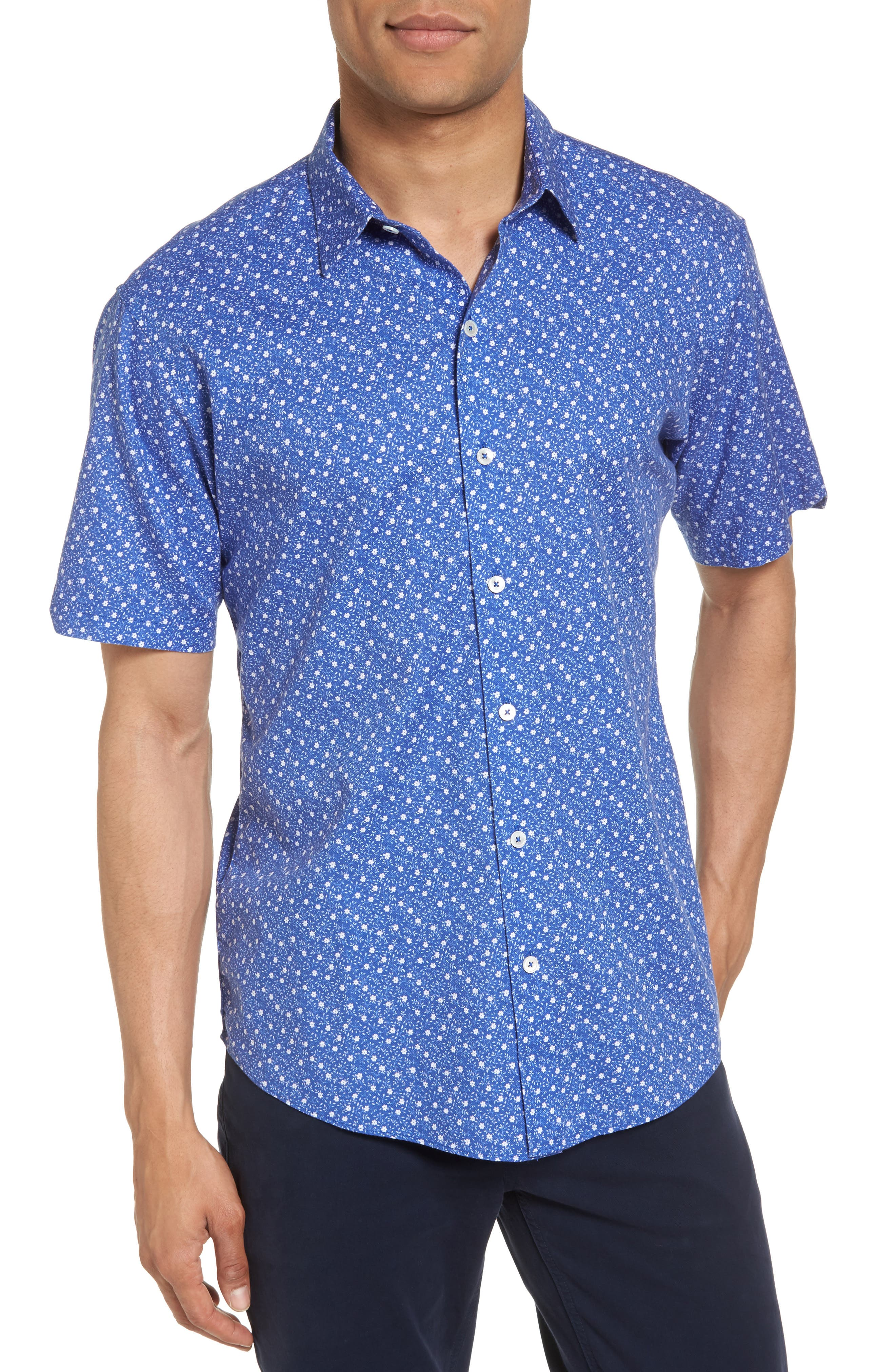 Floral Print Short Sleeve Sport Shirt,                             Main thumbnail 1, color,                             Blue