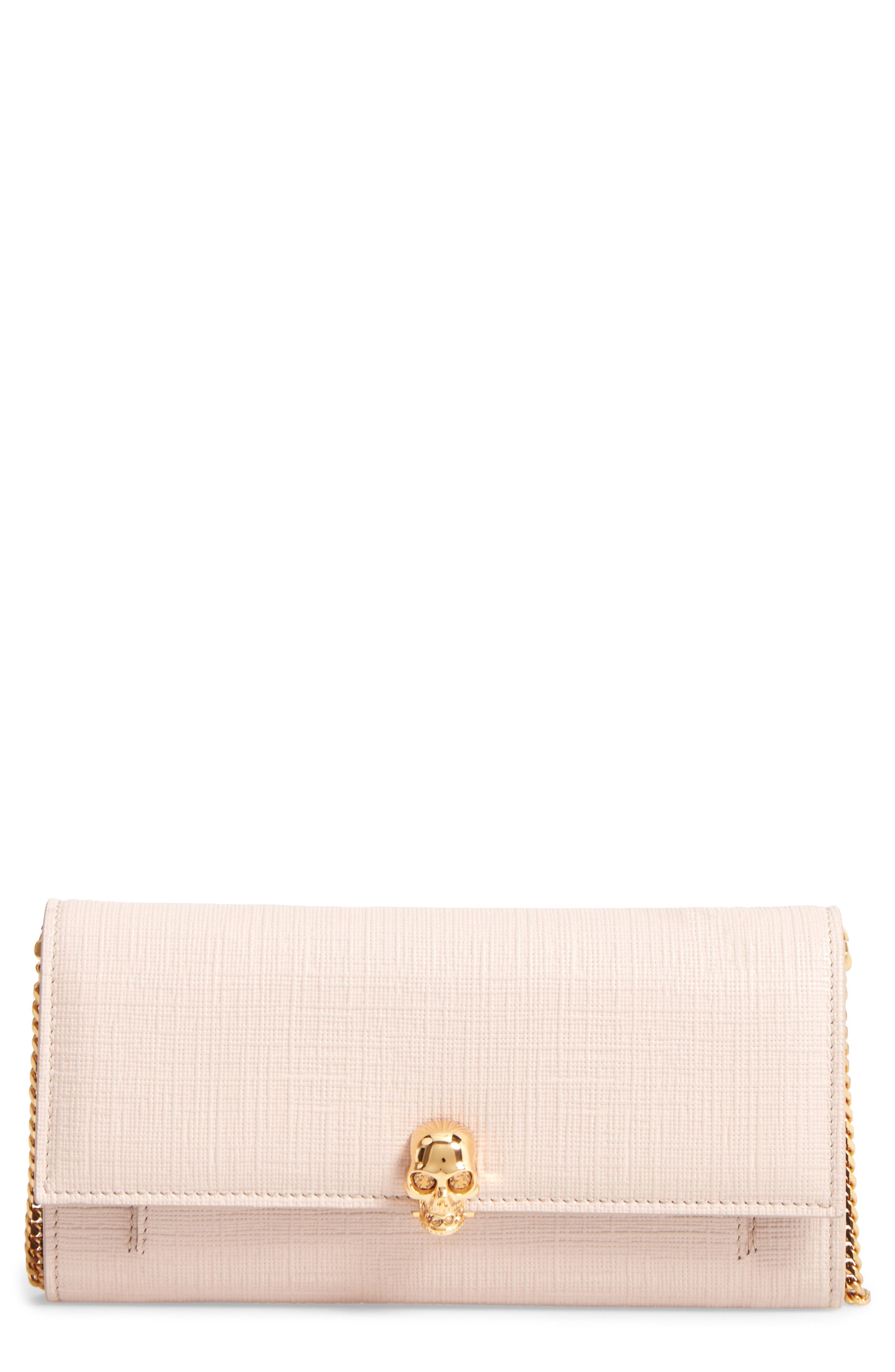 Alternate Image 1 Selected - Alexander McQueen Embossed Leather Wallet on a Chain