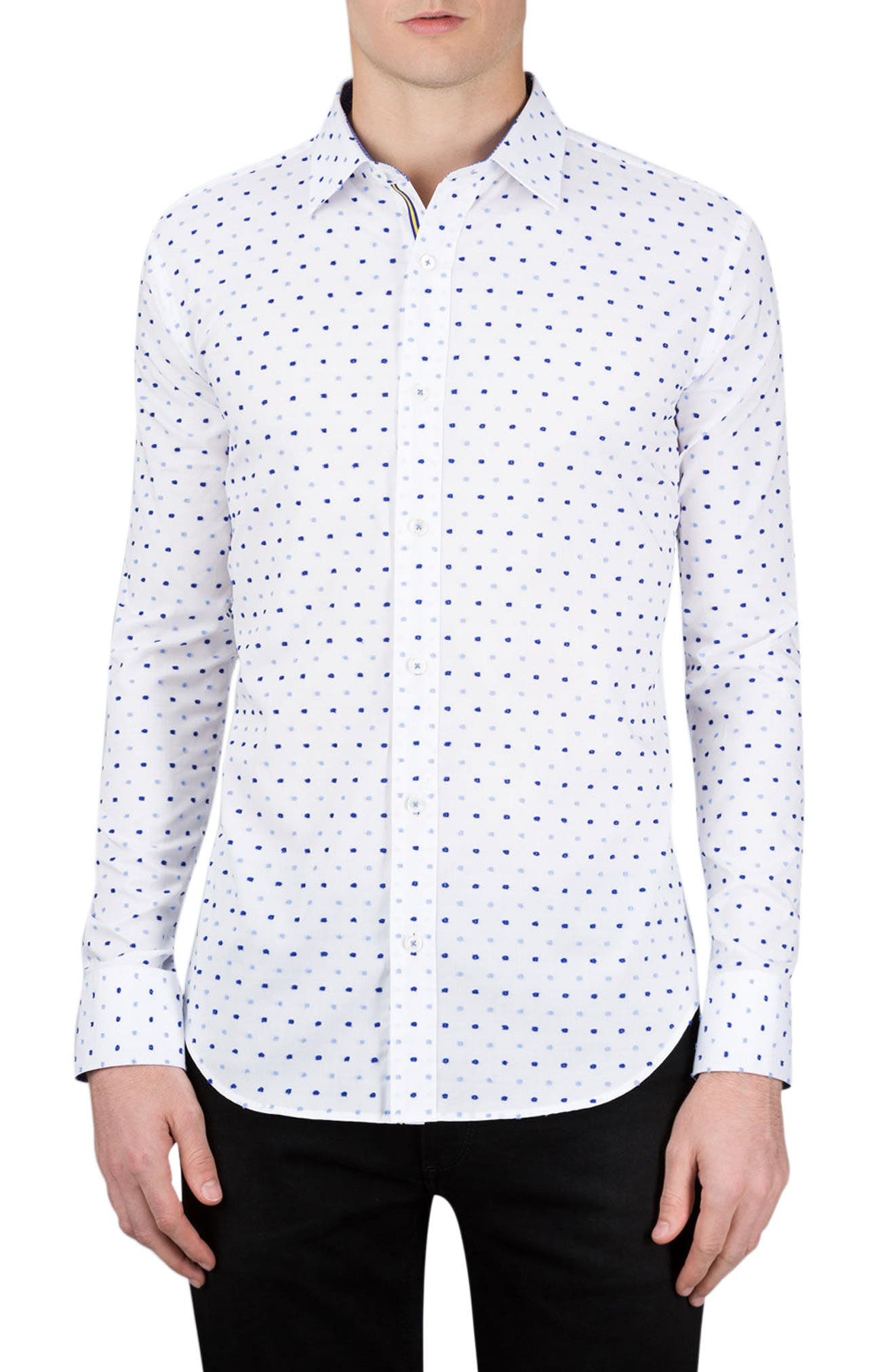 Classic Fit Embroidered Dot Sport Shirt,                             Main thumbnail 1, color,                             White