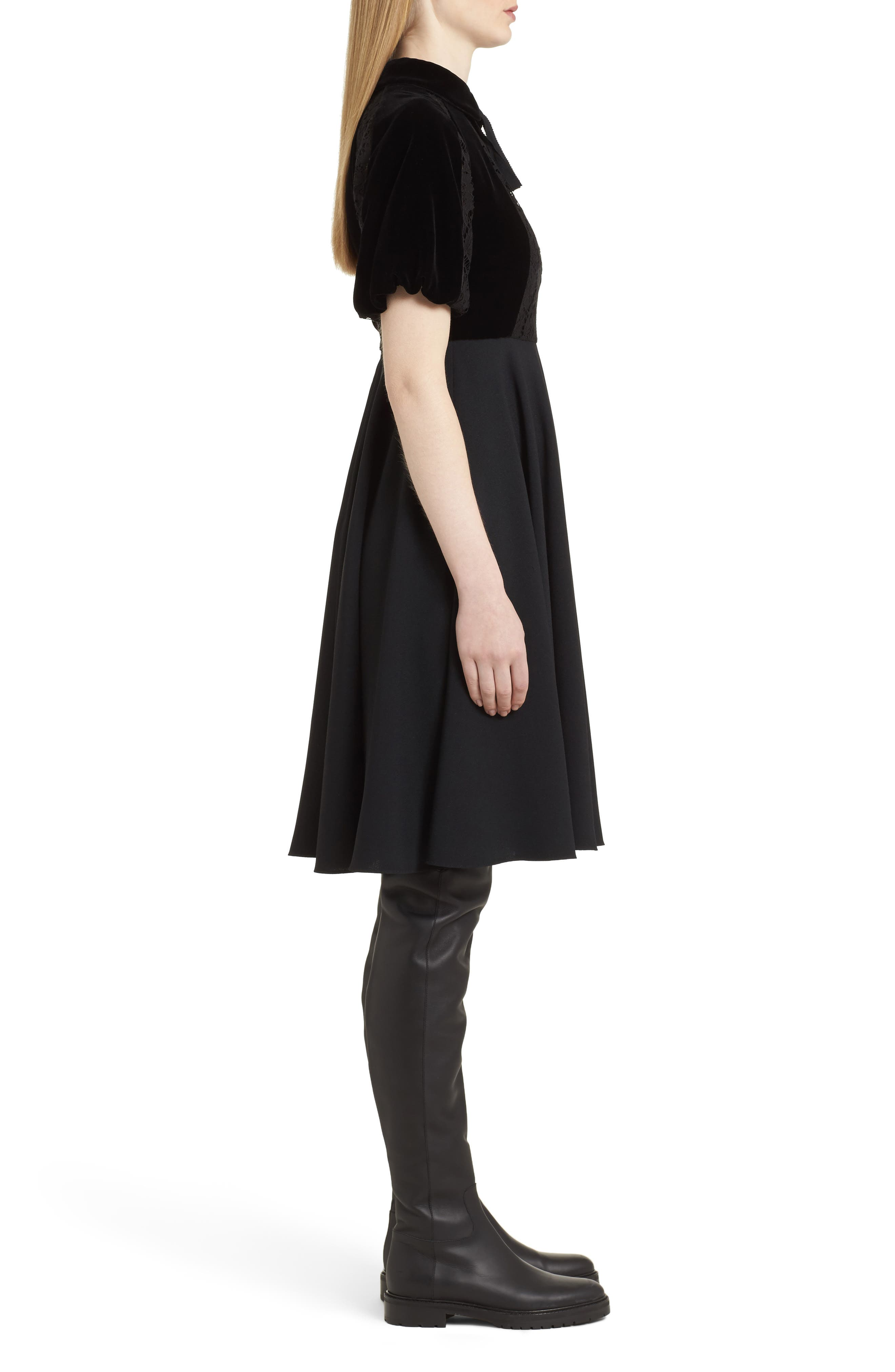 Guipure Lace Inset Crepe Dress,                             Alternate thumbnail 3, color,                             Black