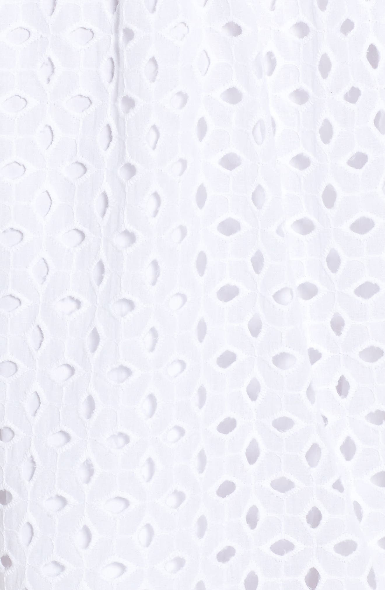 Eyelet Fit & Flare Dress,                             Alternate thumbnail 5, color,                             White