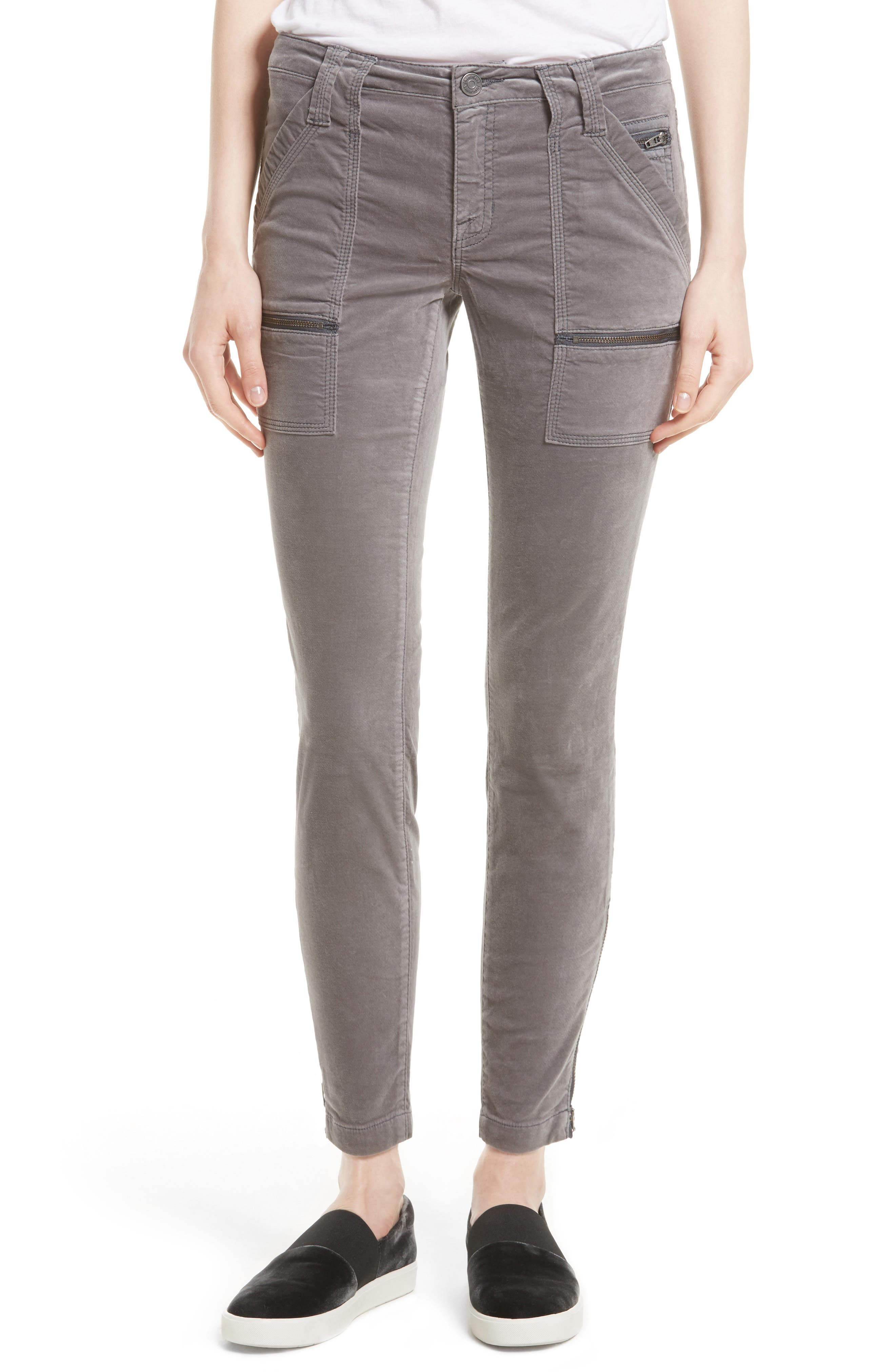 Park Stretch Cotton Skinny Pants,                         Main,                         color, Steel