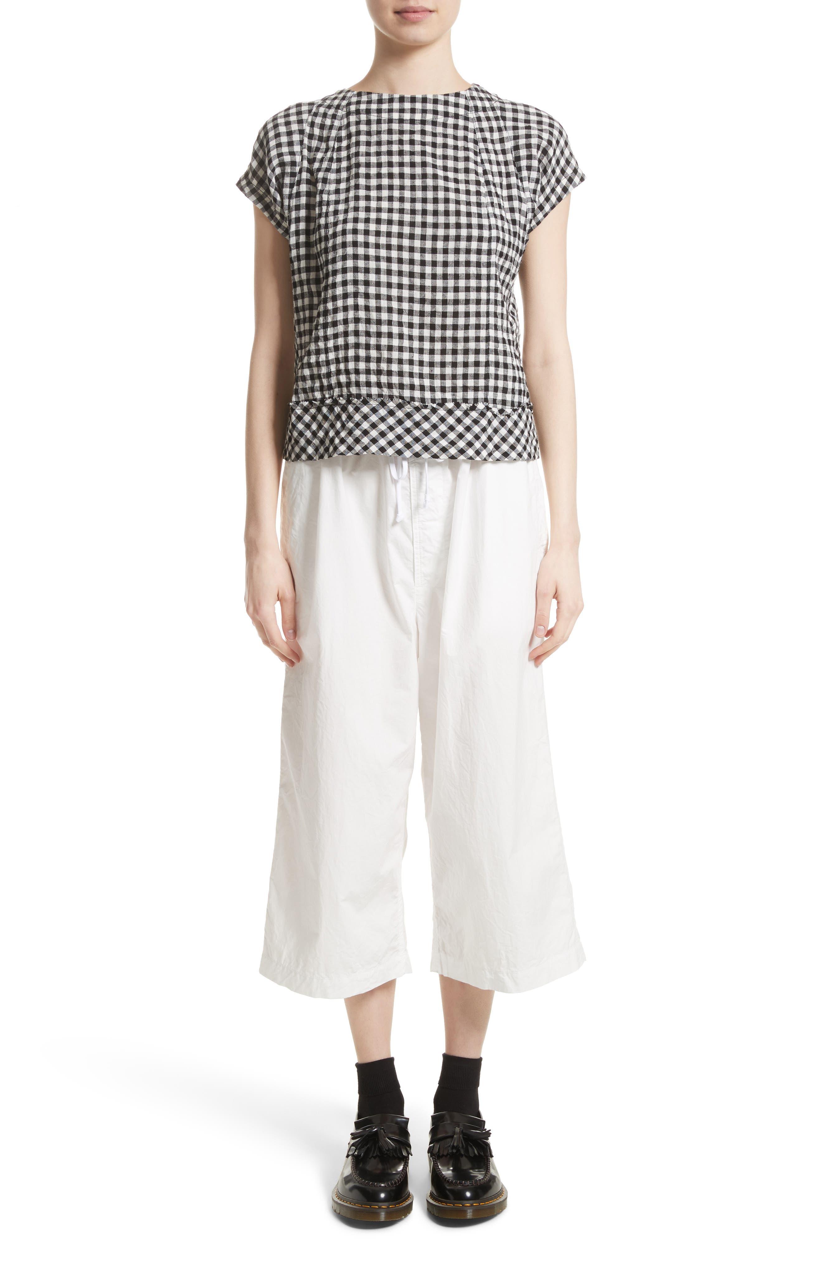 Washed Cotton Wide Leg Crop Pants,                             Alternate thumbnail 7, color,                             White