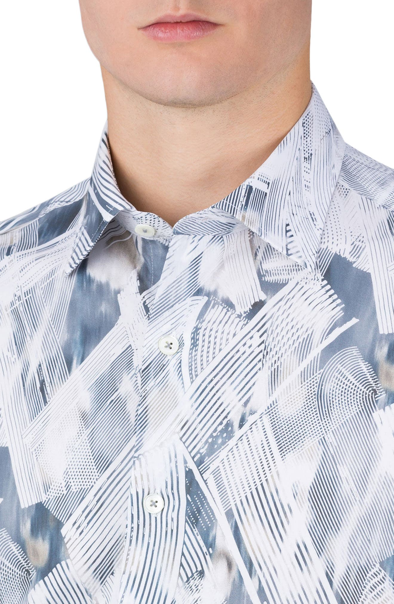 Alternate Image 3  - Bugatchi Shaped Fit Print Sport Shirt