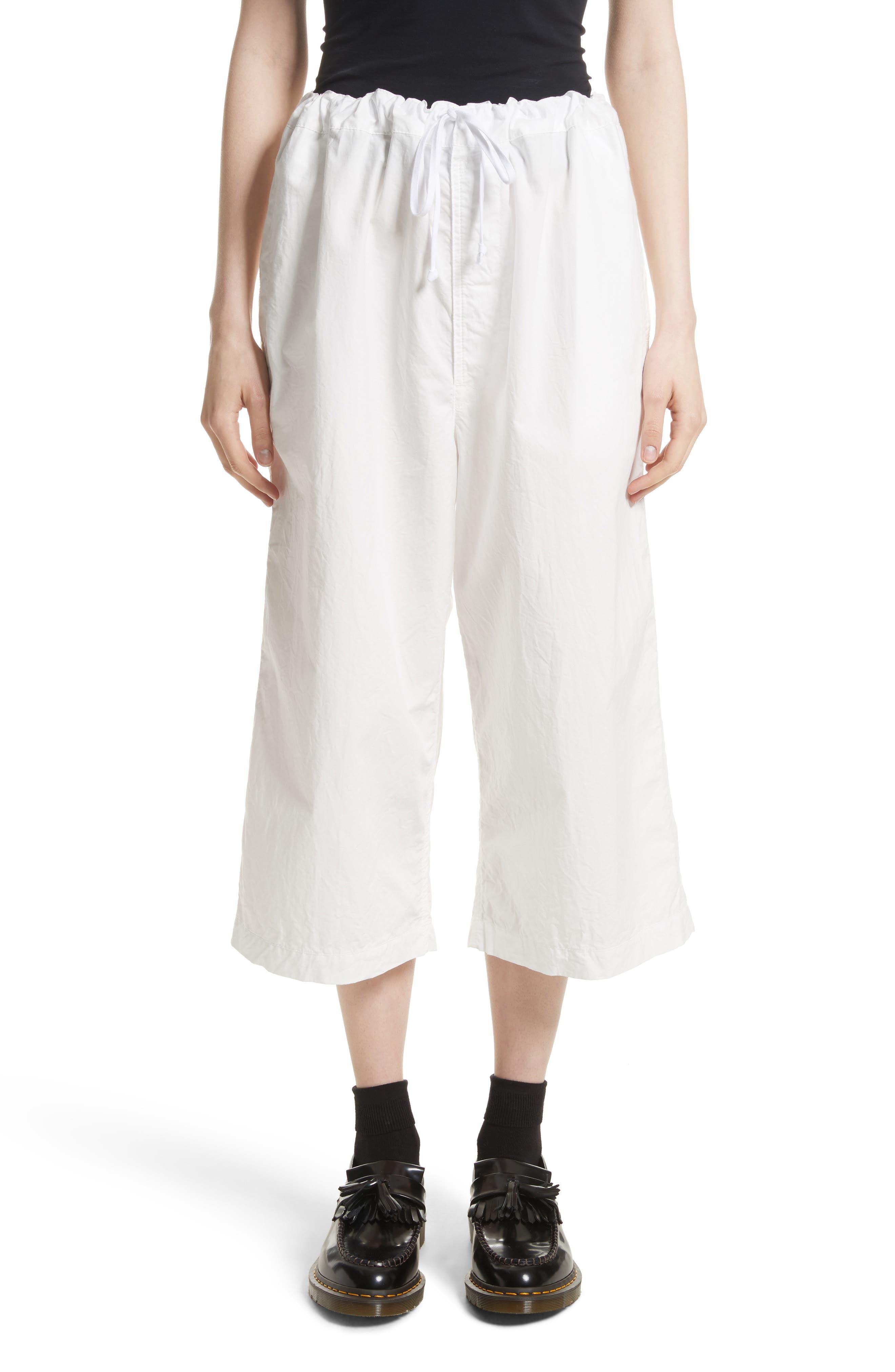 Washed Cotton Wide Leg Crop Pants,                         Main,                         color, White