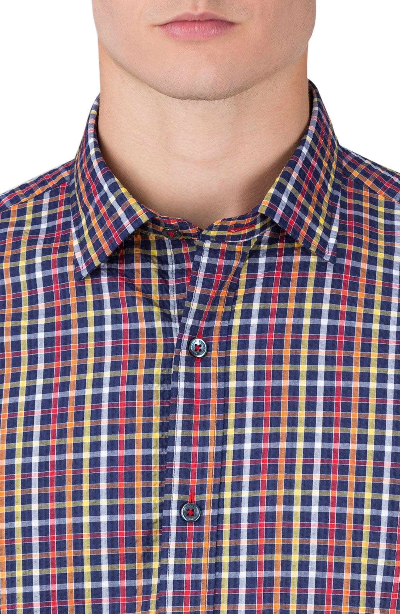 Alternate Image 3  - Bugatchi Shaped Fit Check Sport Shirt