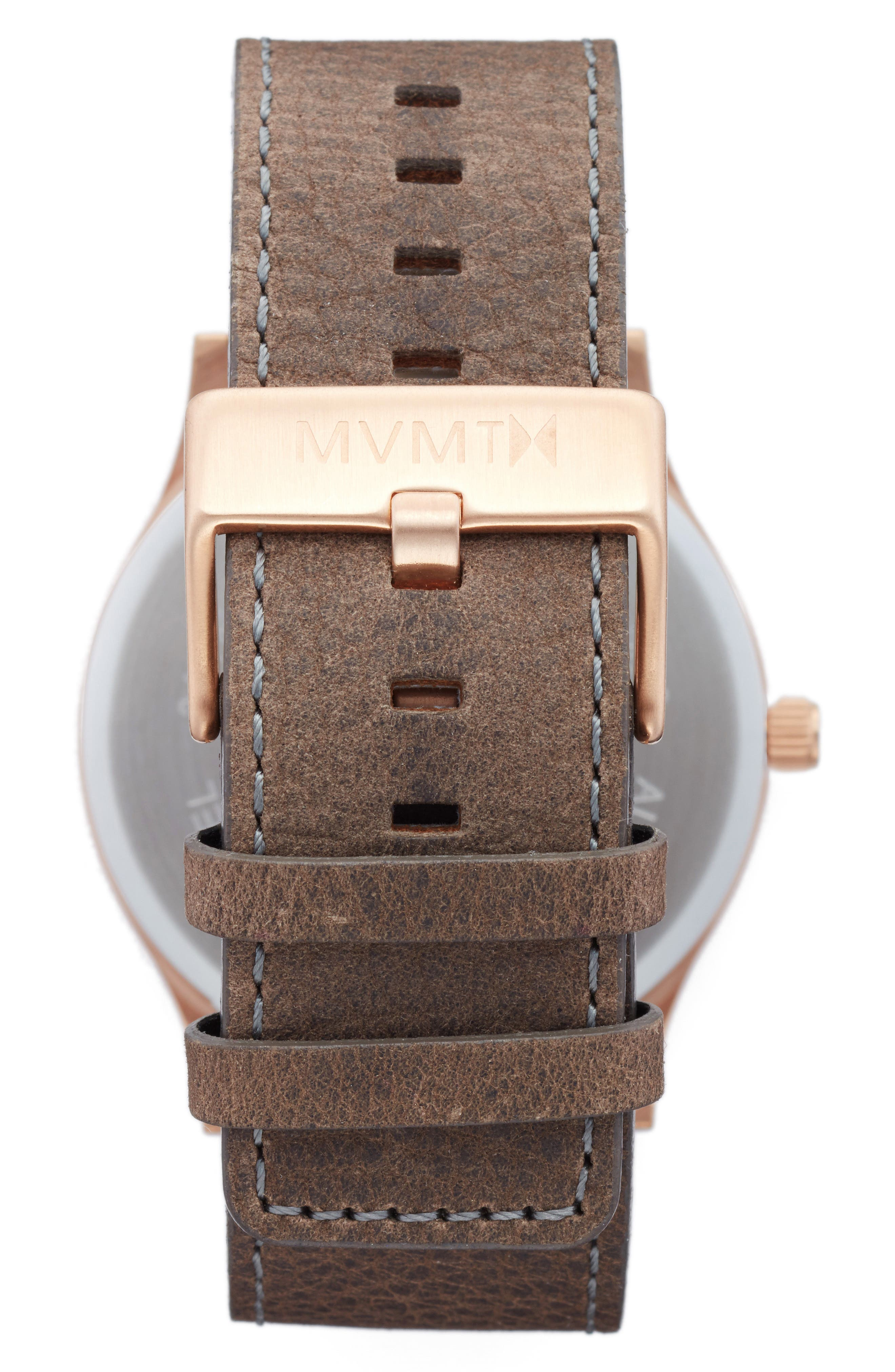 The Classic Leather Strap Watch, 45mm,                             Alternate thumbnail 2, color,                             Charcoal/ Brown