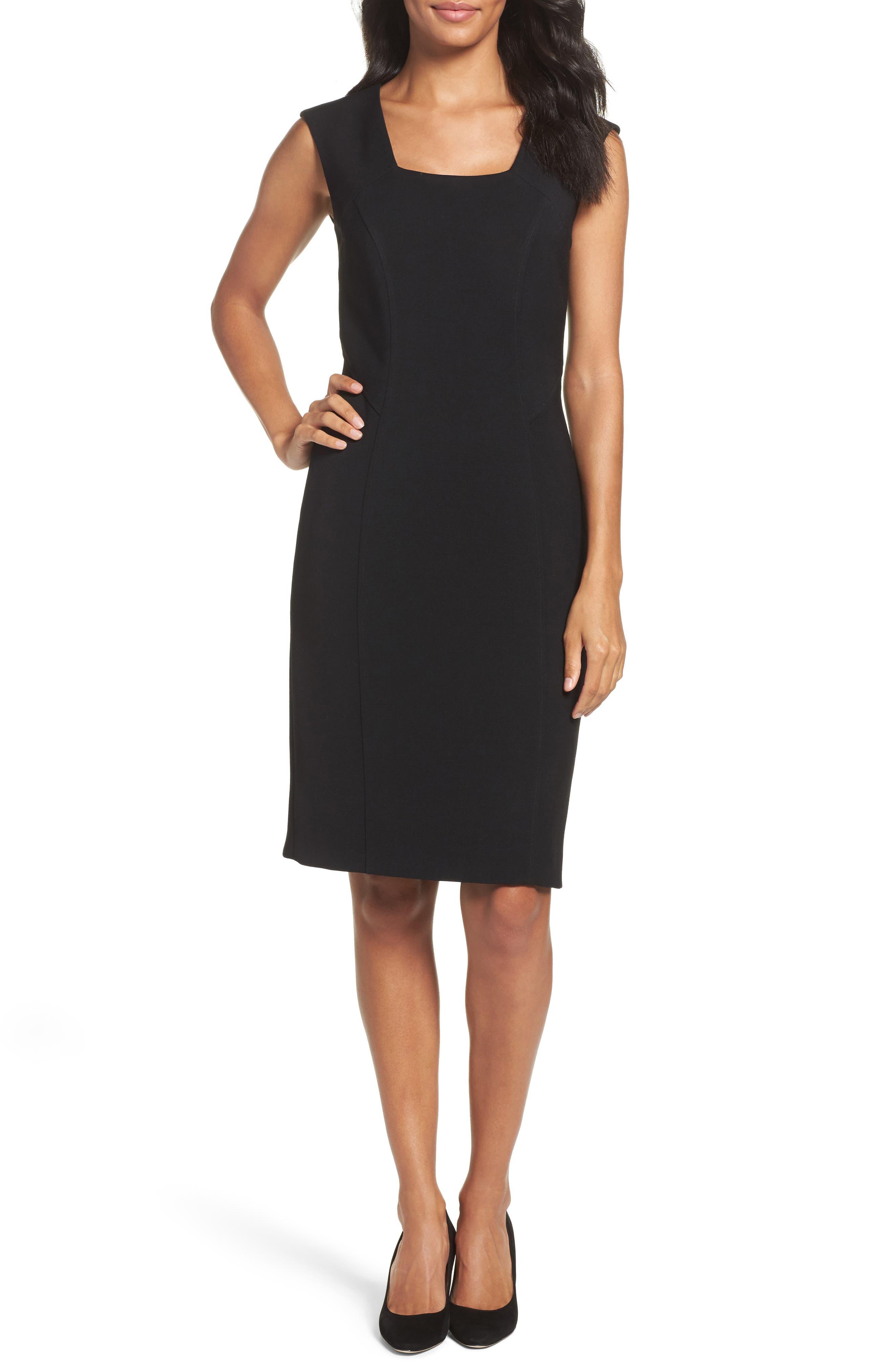 Seamed Stretch Sheath Dress,                         Main,                         color, Black
