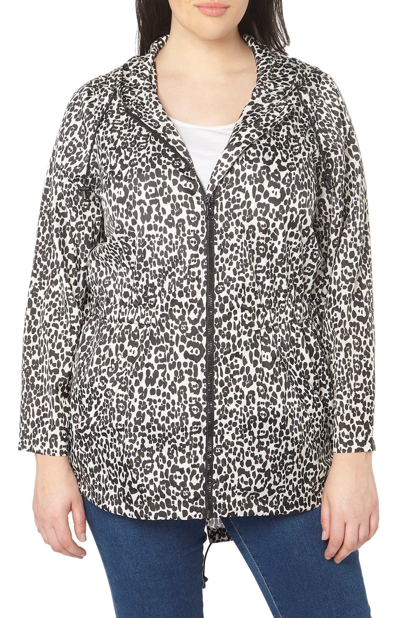Evans Leopard Print Hooded Jacket (Plus Size)