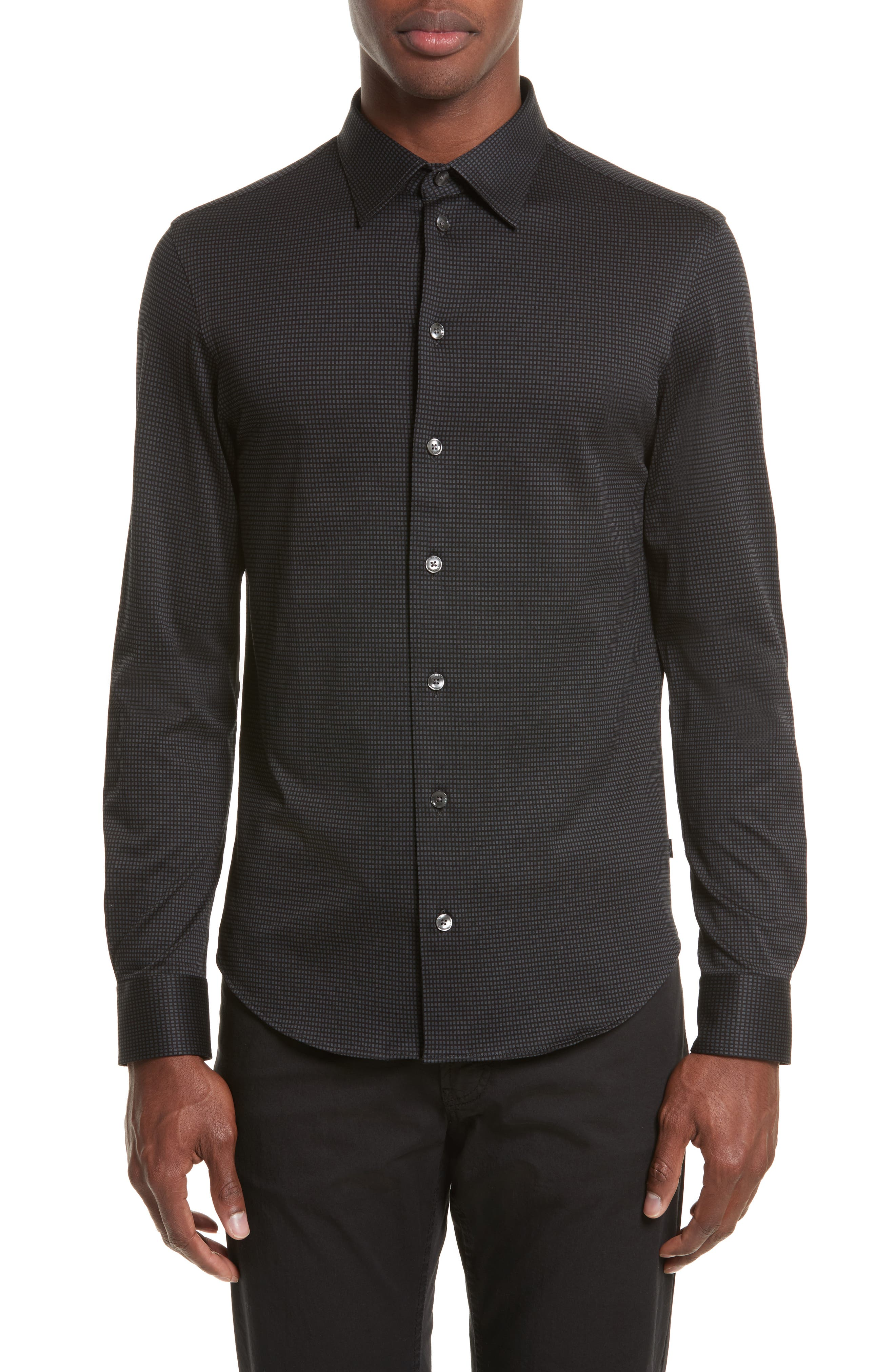 Neat Check Woven Sport Shirt,                         Main,                         color, Checked Black
