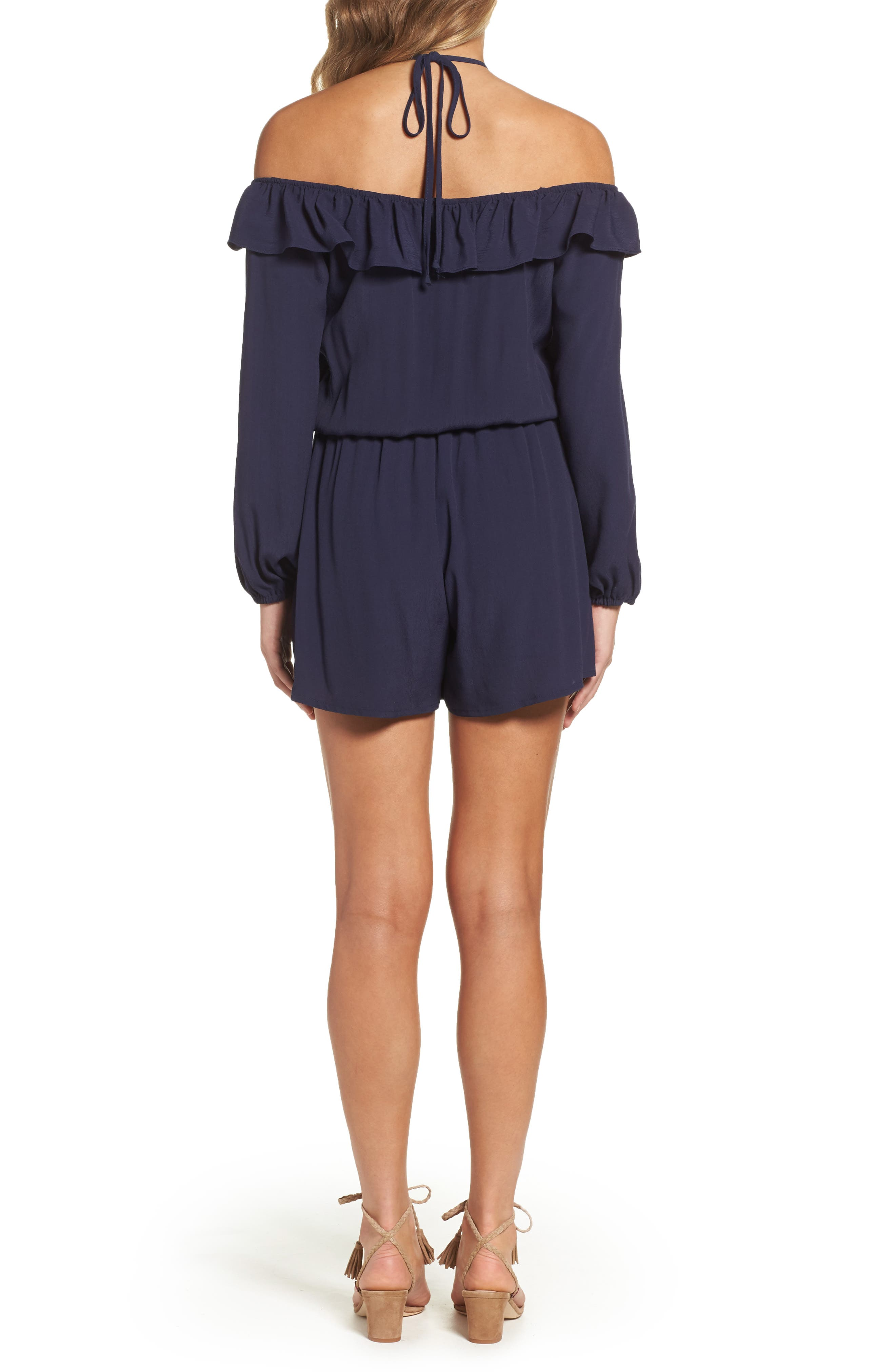 Cold Shoulder Romper,                             Alternate thumbnail 2, color,                             Navy