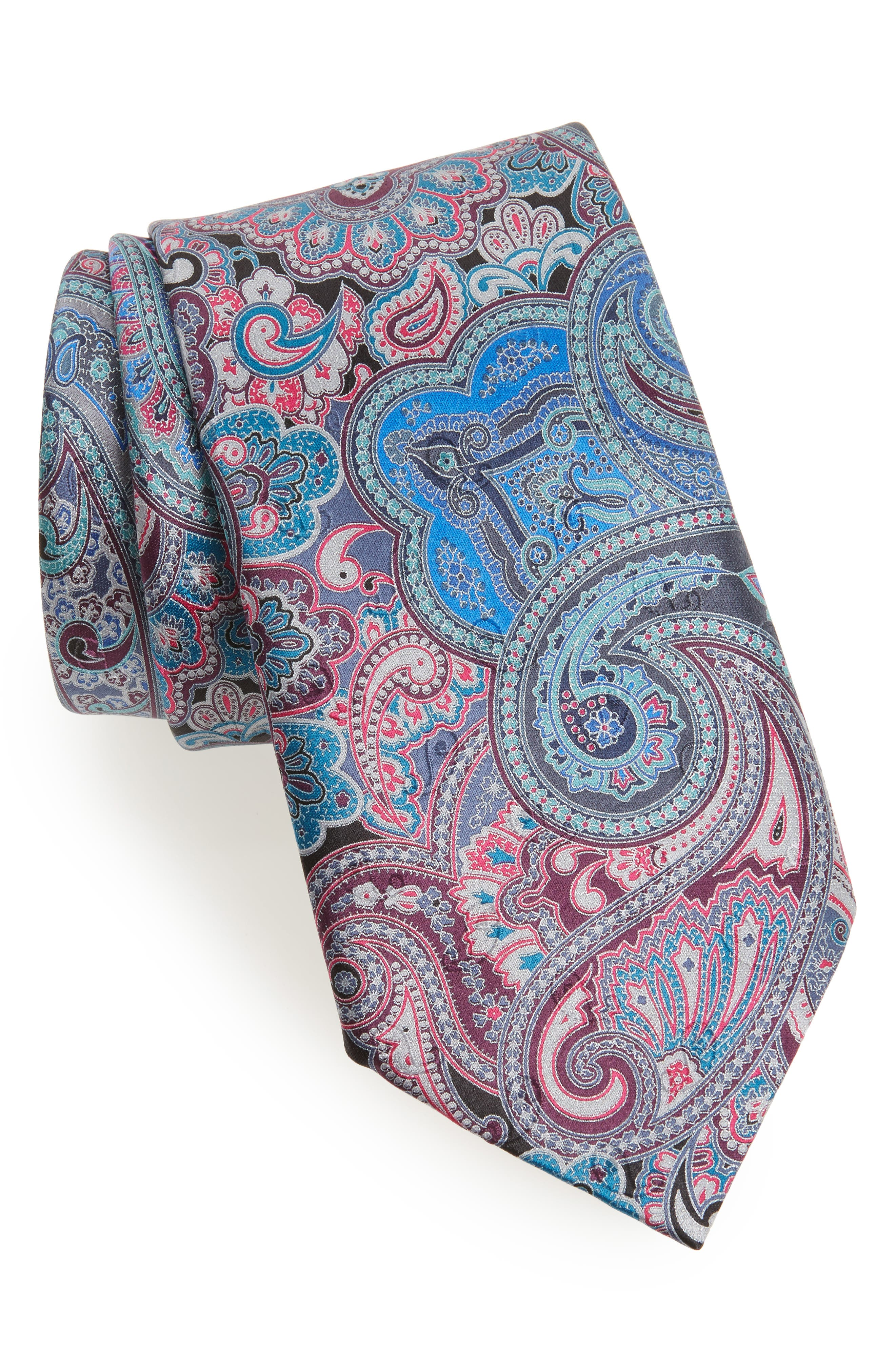 Quindici Paisley Silk Tie,                         Main,                         color, Black Fan