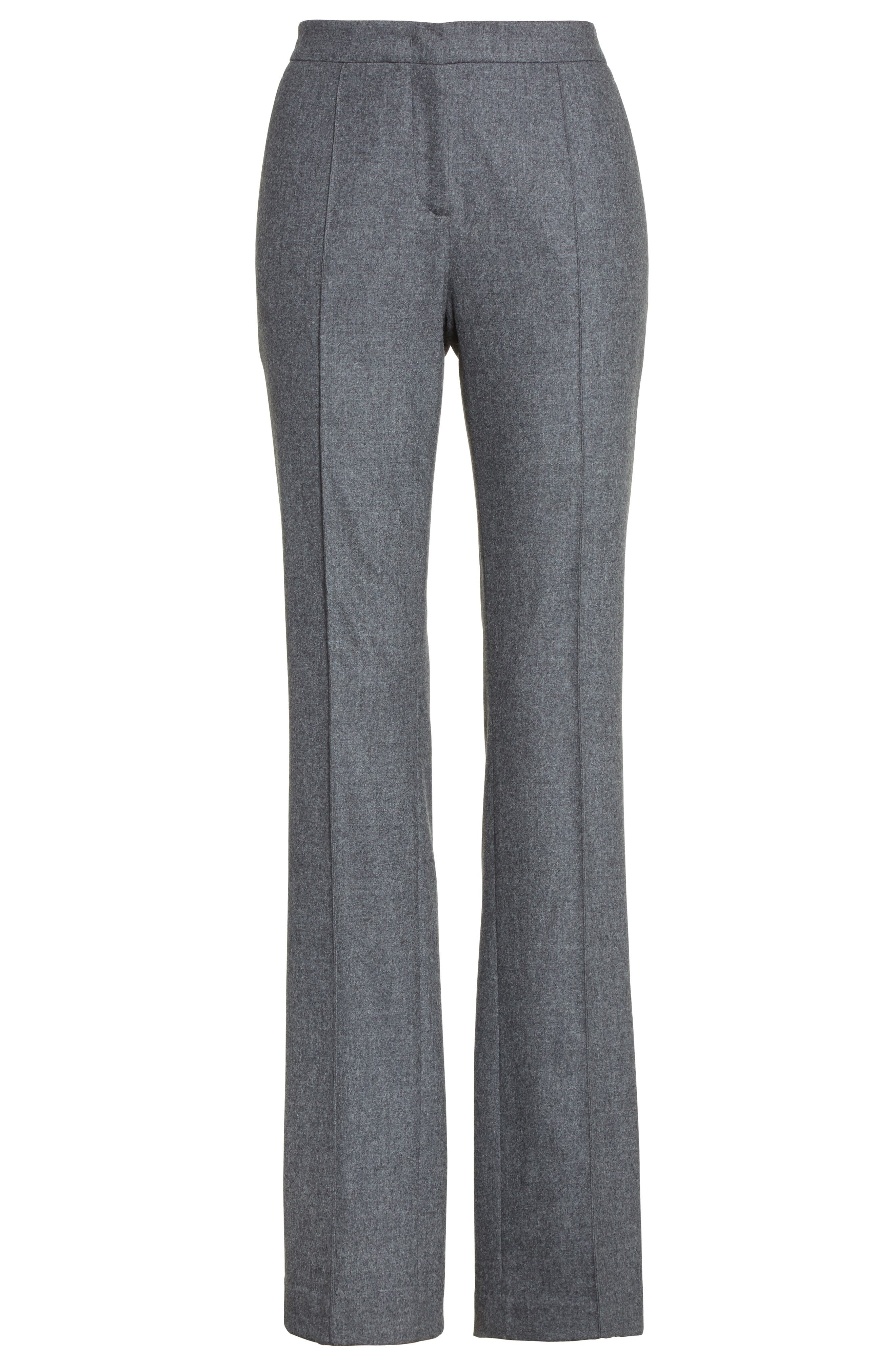 High Waist Flannel Trousers,                             Alternate thumbnail 4, color,                             Grey