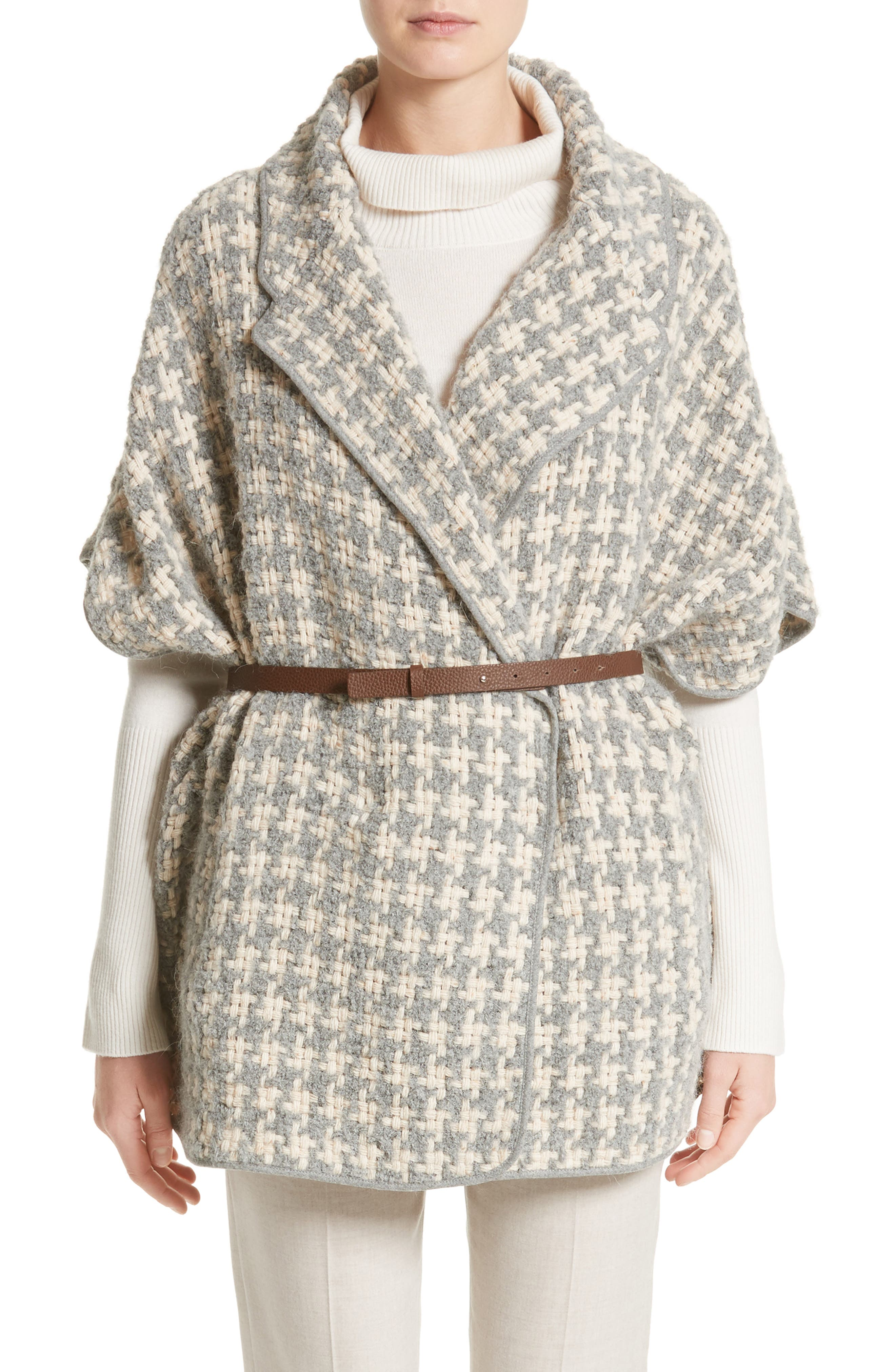 FABIANA FILIPPI Houndstooth Belted Cape