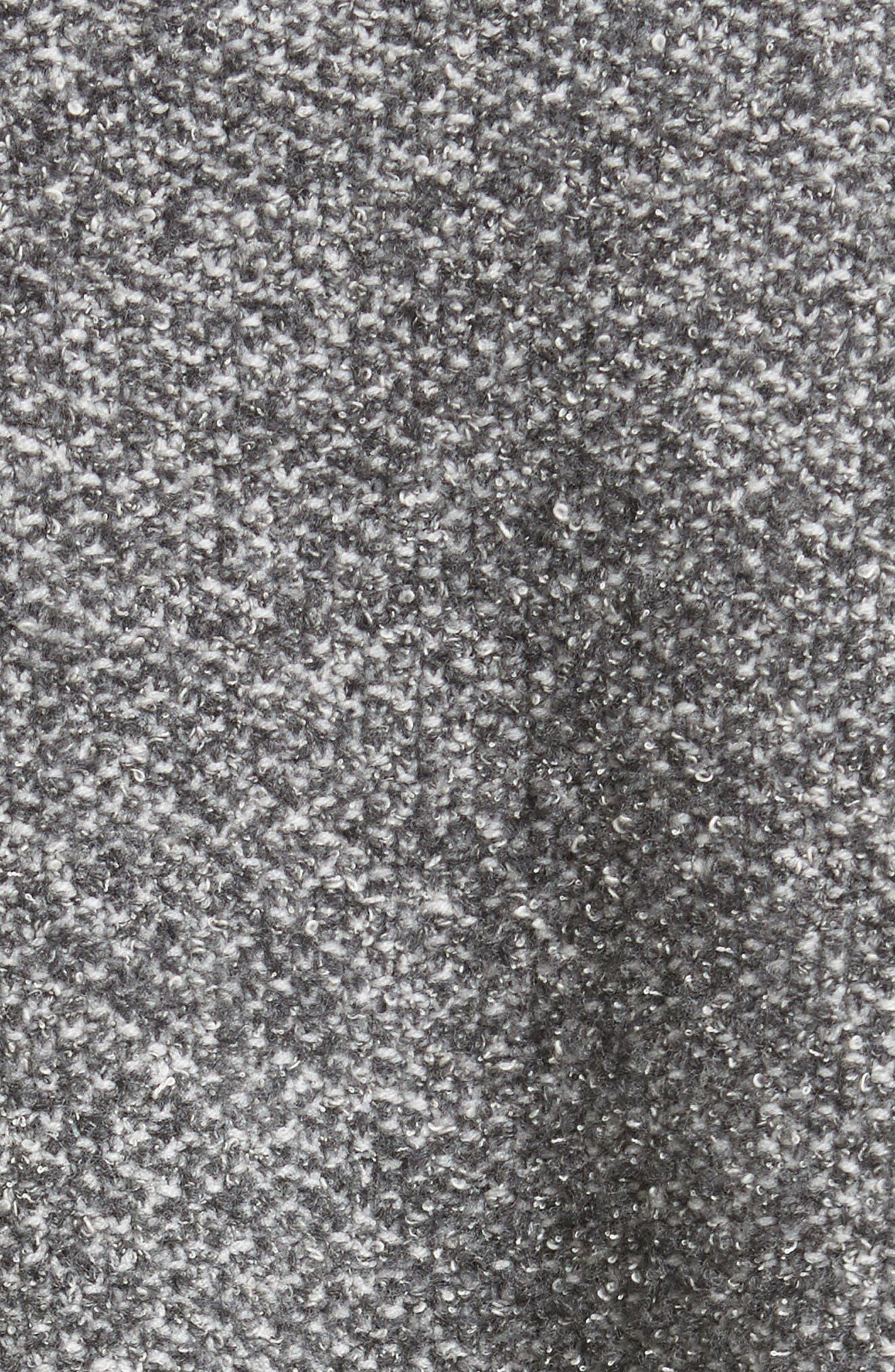 Pebble Tweed Knit Poncho with Genuine Fox Fur Collar,                             Alternate thumbnail 3, color,                             Grey Multi