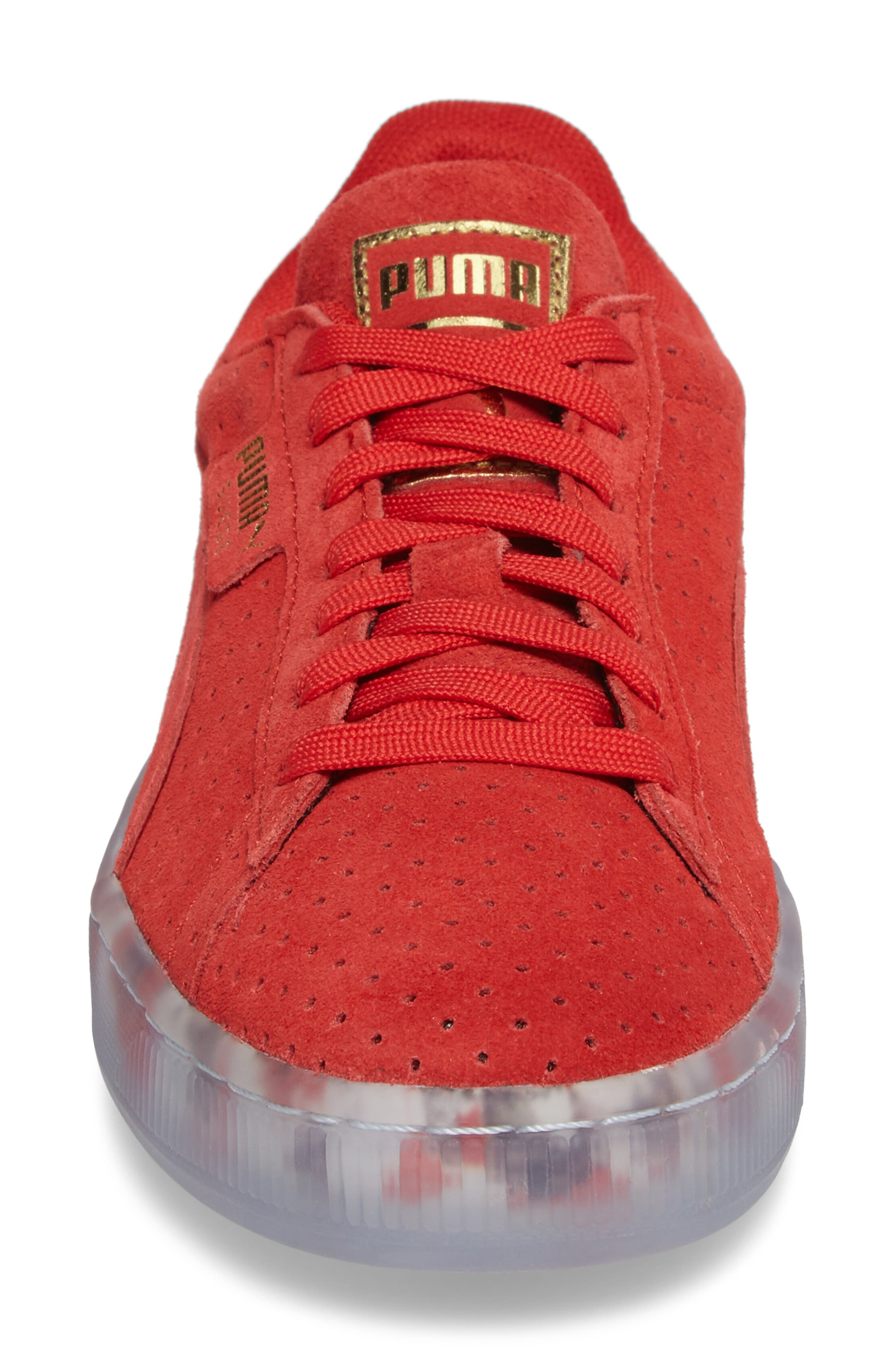 Suede Classic Perforated Sneaker,                             Alternate thumbnail 4, color,                             High Risk Red/ Puma White