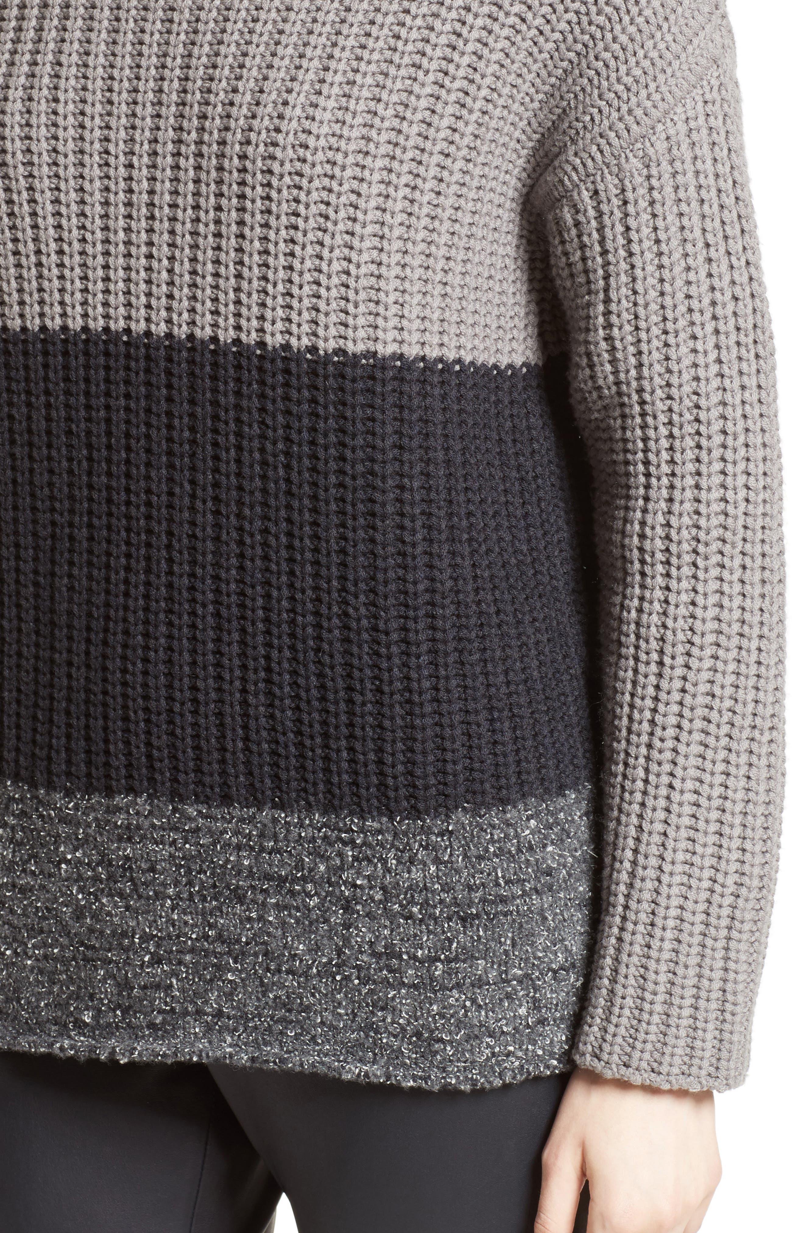 Ribbed Colorblock Sweater,                             Alternate thumbnail 6, color,                             Grey Multi