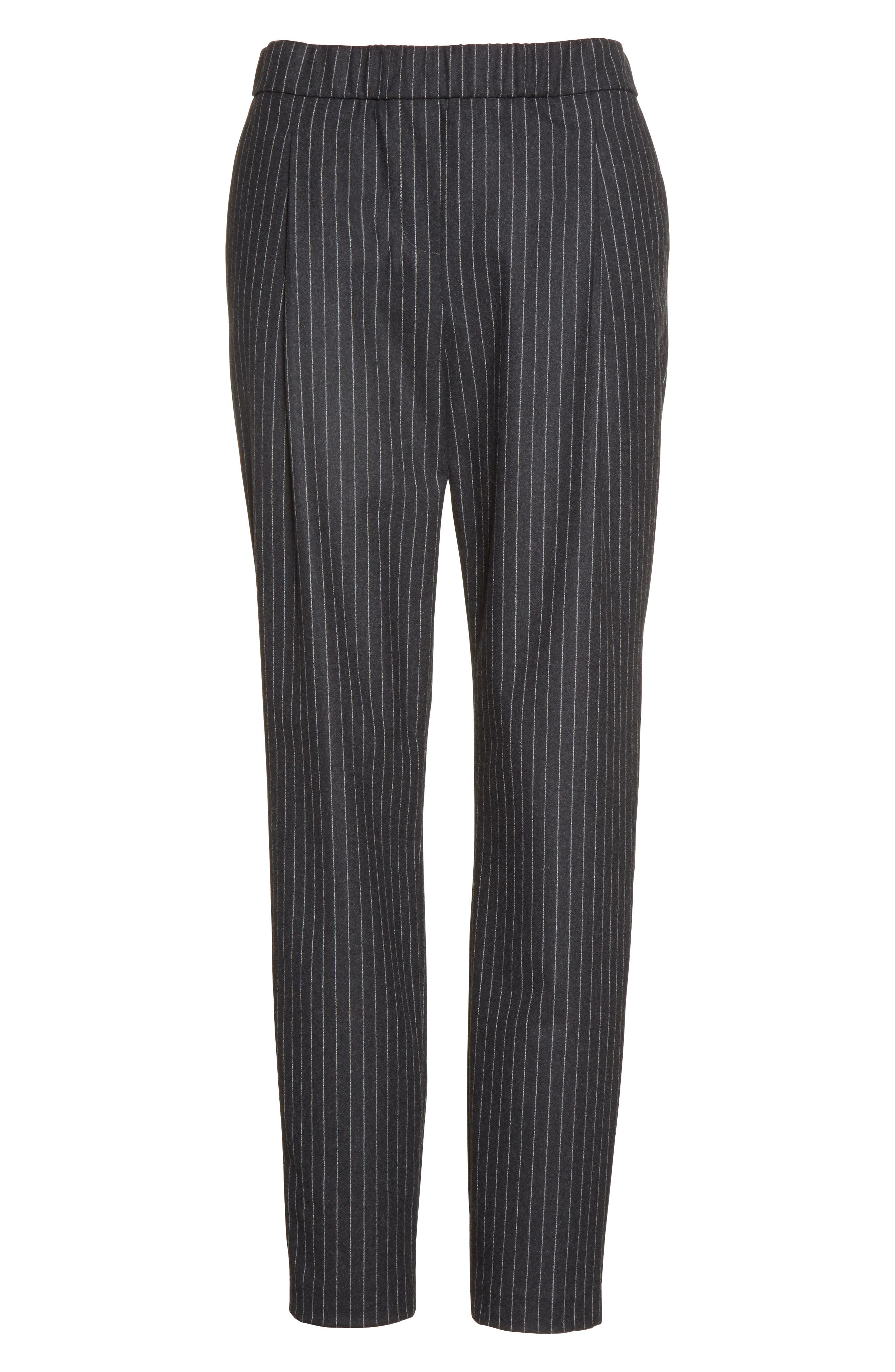 Pinstripe Wool Flannel Pants,                             Alternate thumbnail 4, color,                             Charcoal