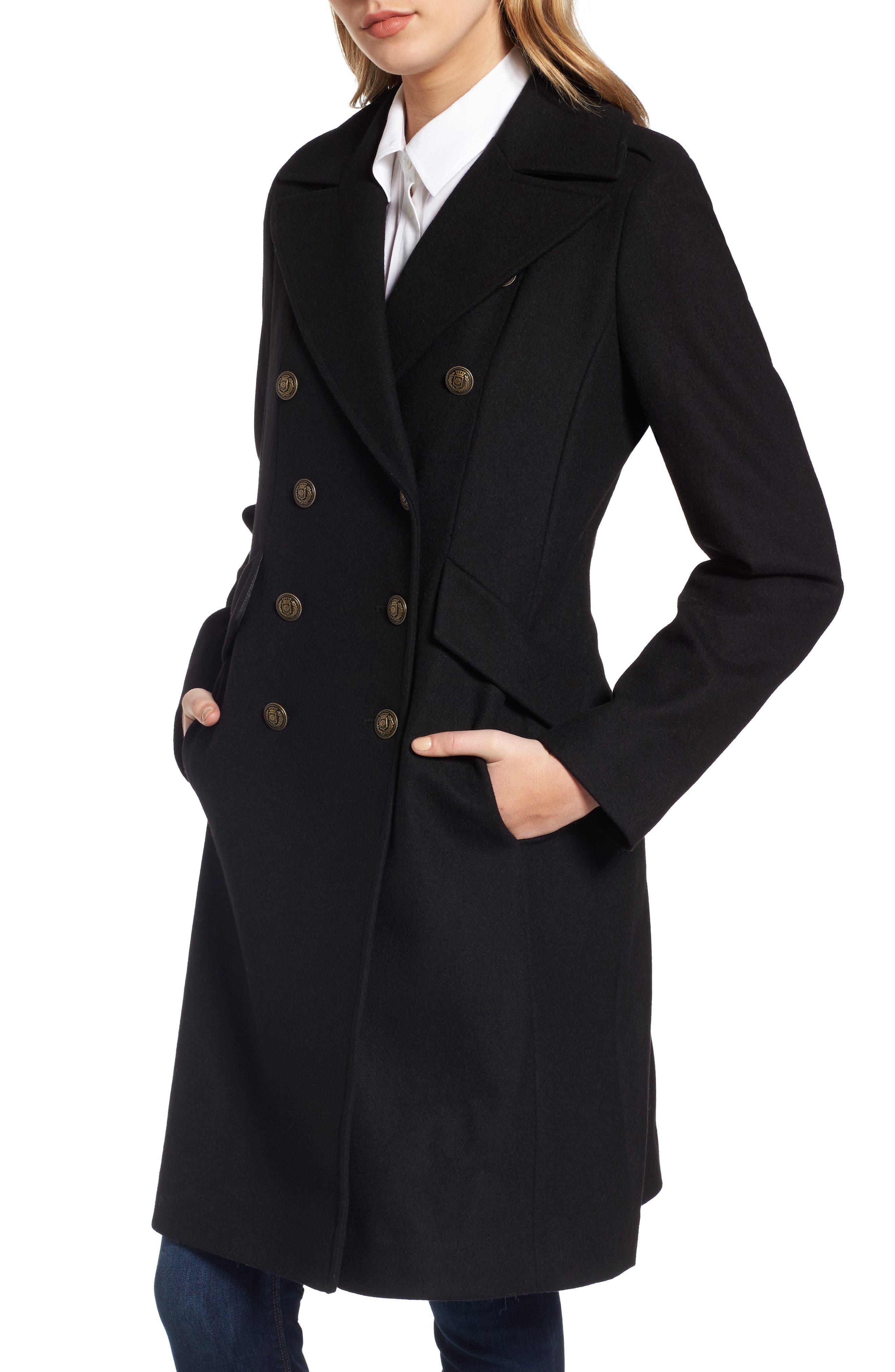 Long Wool Blend Military Coat,                         Main,                         color, Black