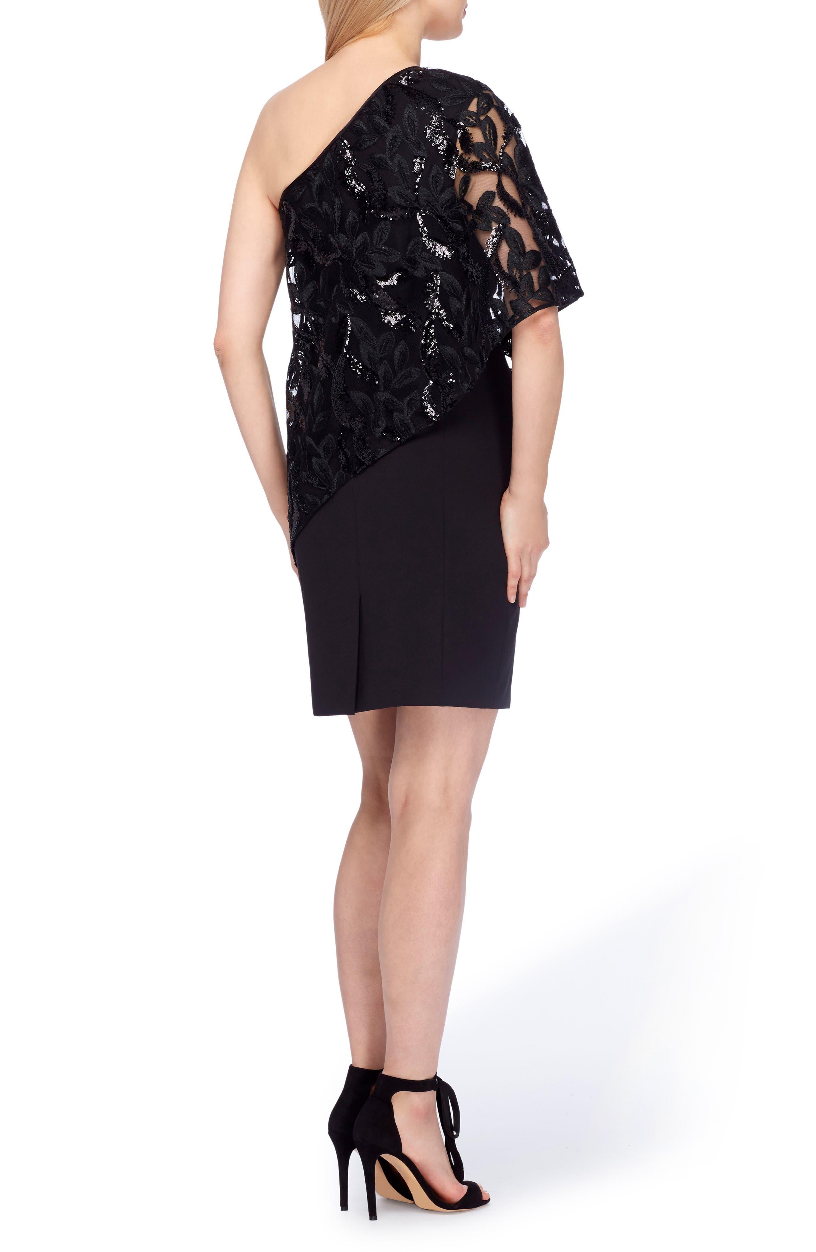 One-Shoulder Sequin Dress,                             Alternate thumbnail 2, color,                             Black
