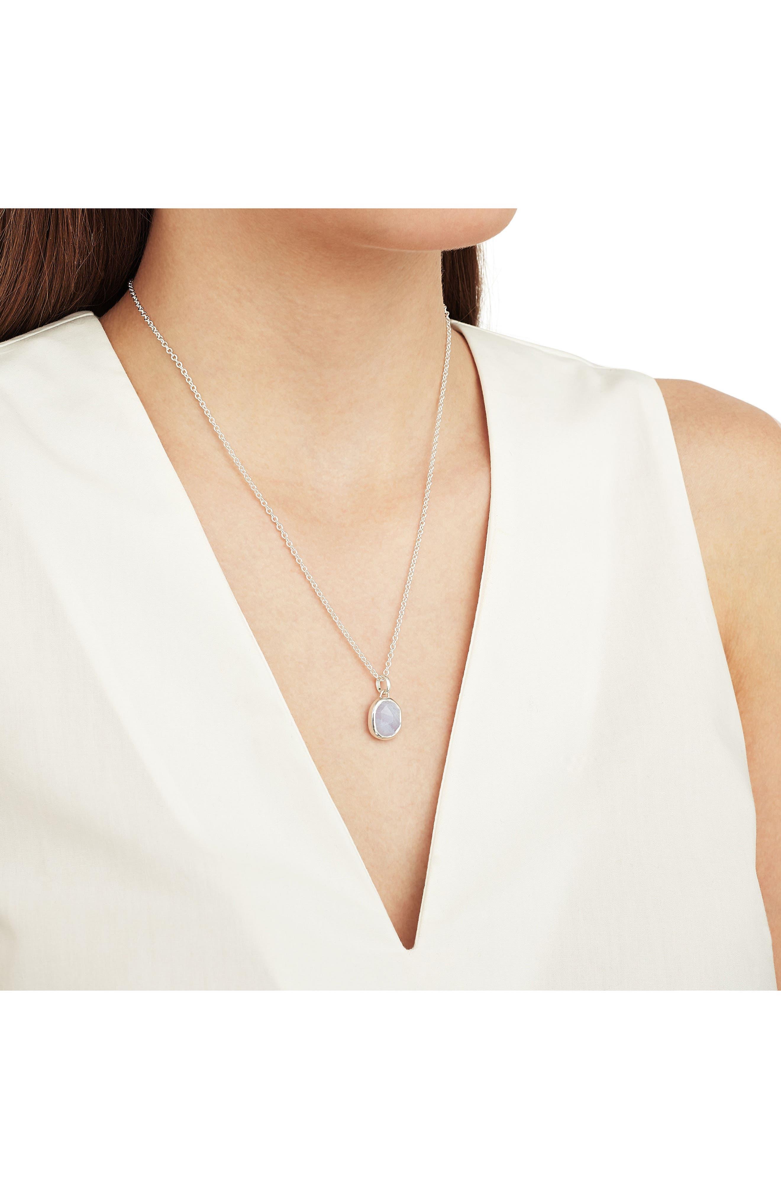 Siren Medium Bezel Pendant,                             Alternate thumbnail 2, color,                             Silver/ Blue Lace Agate