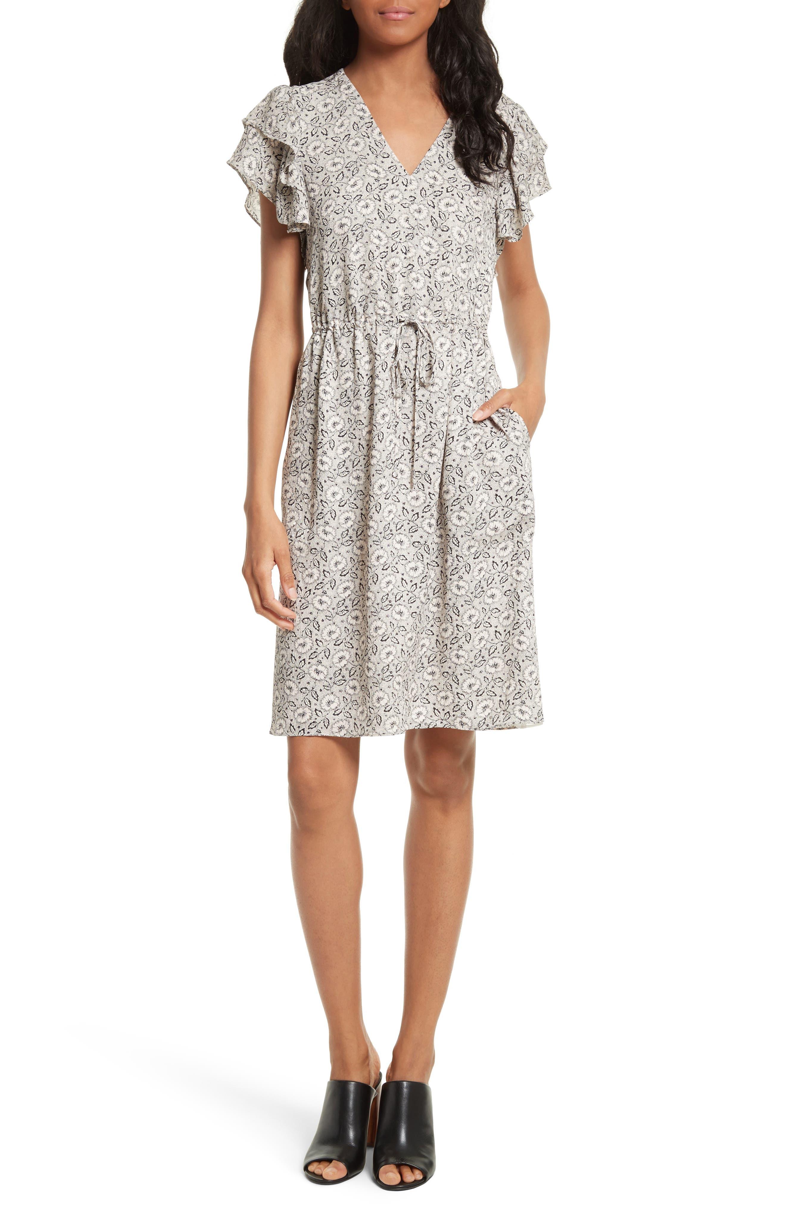 Floral A-Line Silk Dress,                         Main,                         color, Cream Combo