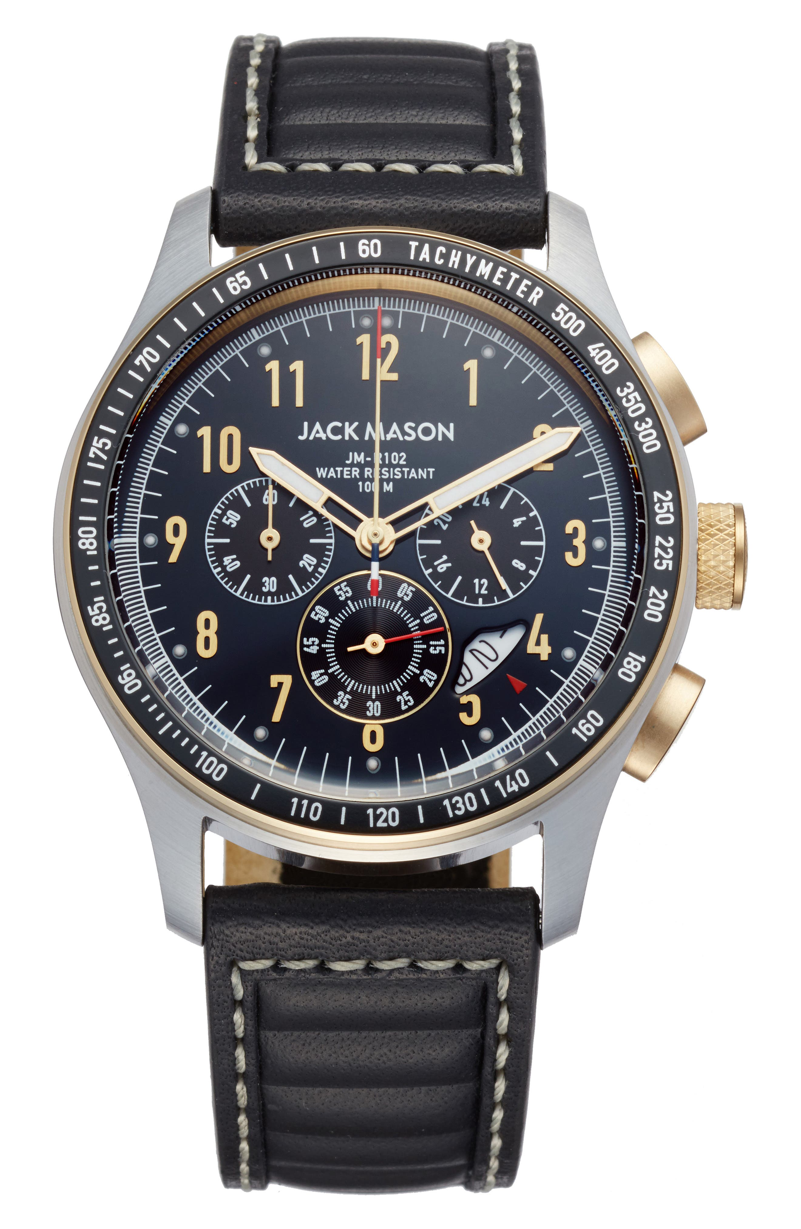 Jack Mason Racing Chronograph Leather Strap Watch, 46mm