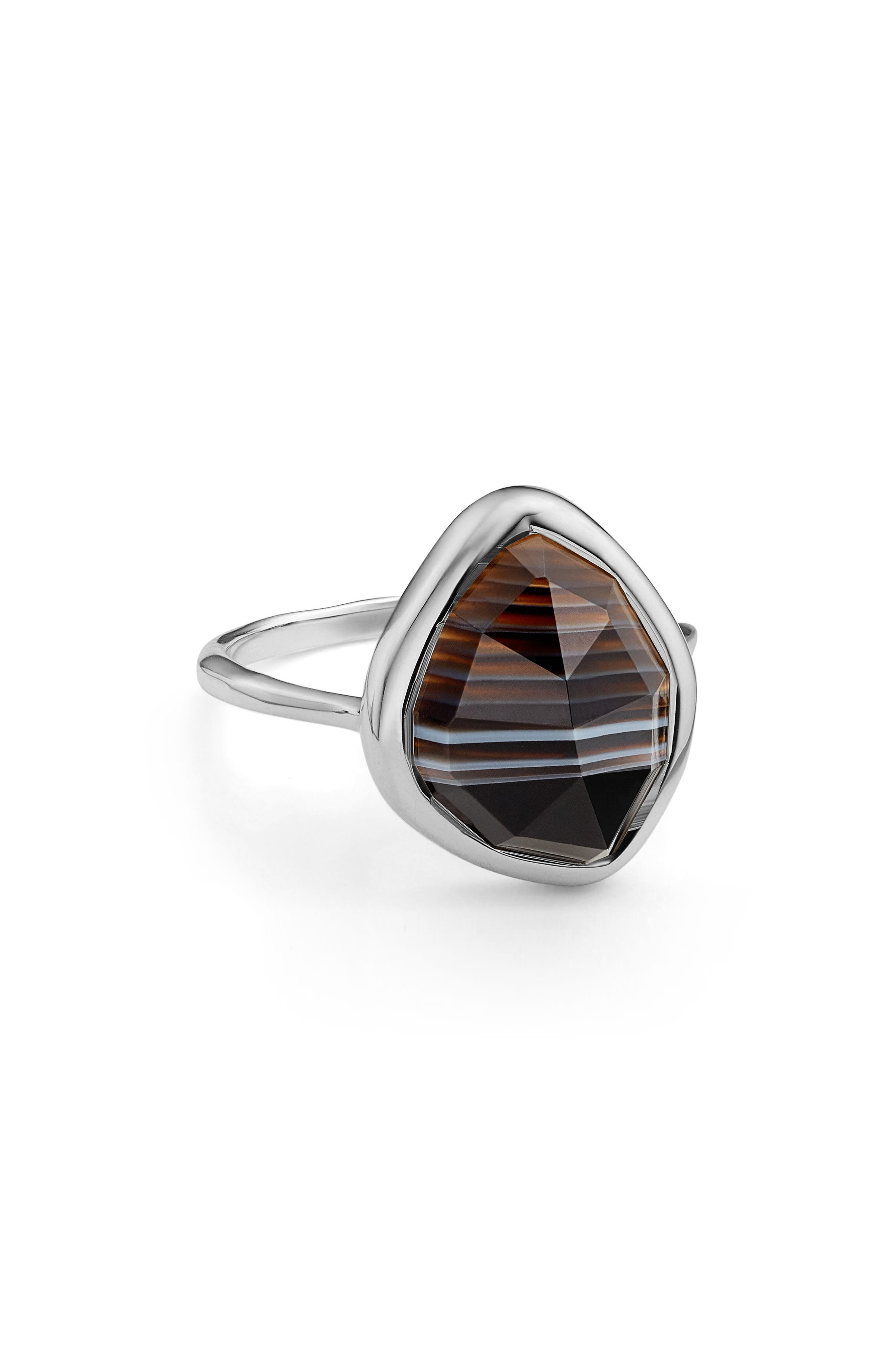Siren Nugget Semiprecious Stacking Ring,                             Alternate thumbnail 3, color,                             Silver/ Black Line Onyx