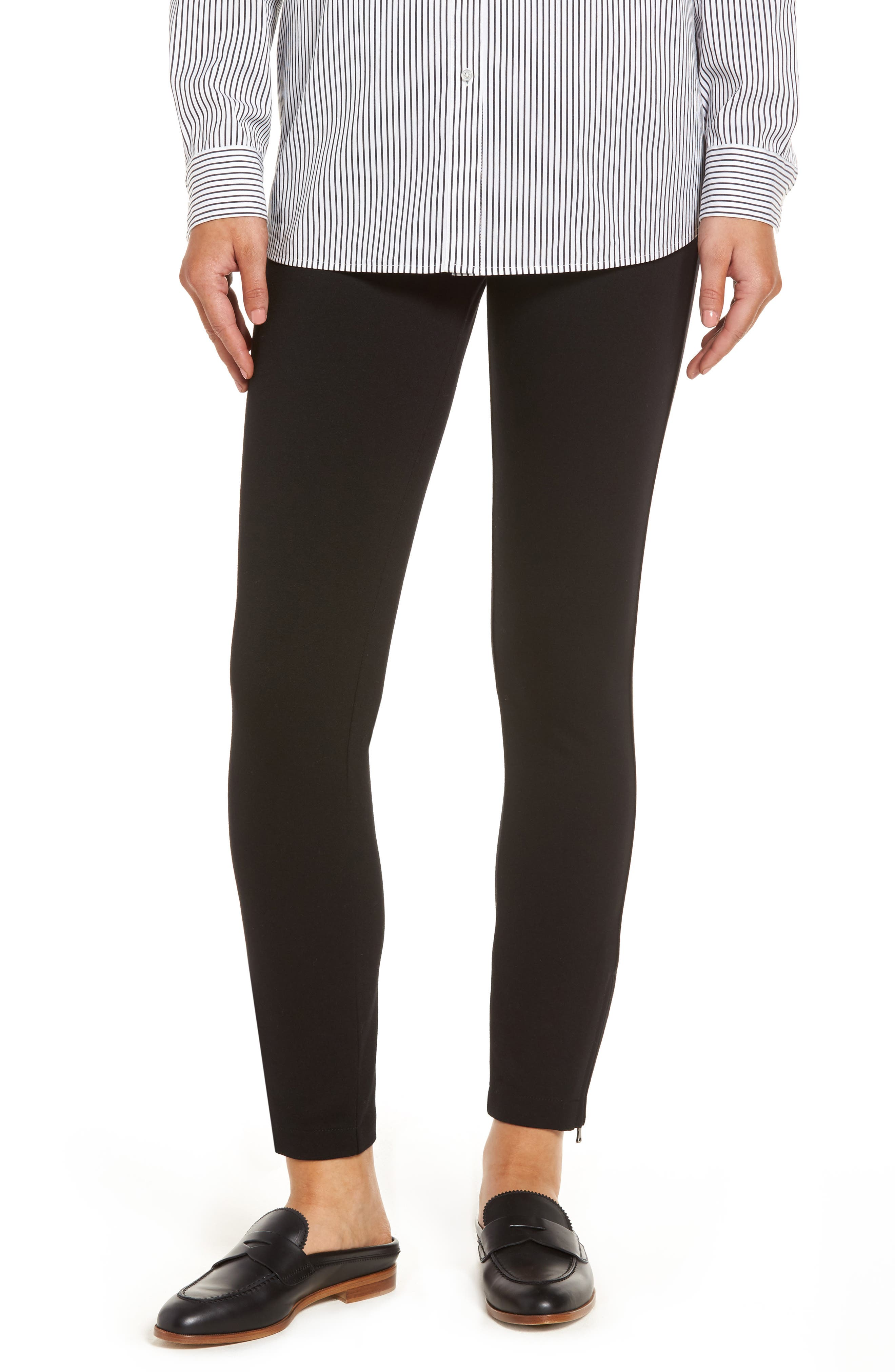 Zip Ankle Ponte Leggings,                         Main,                         color, Black