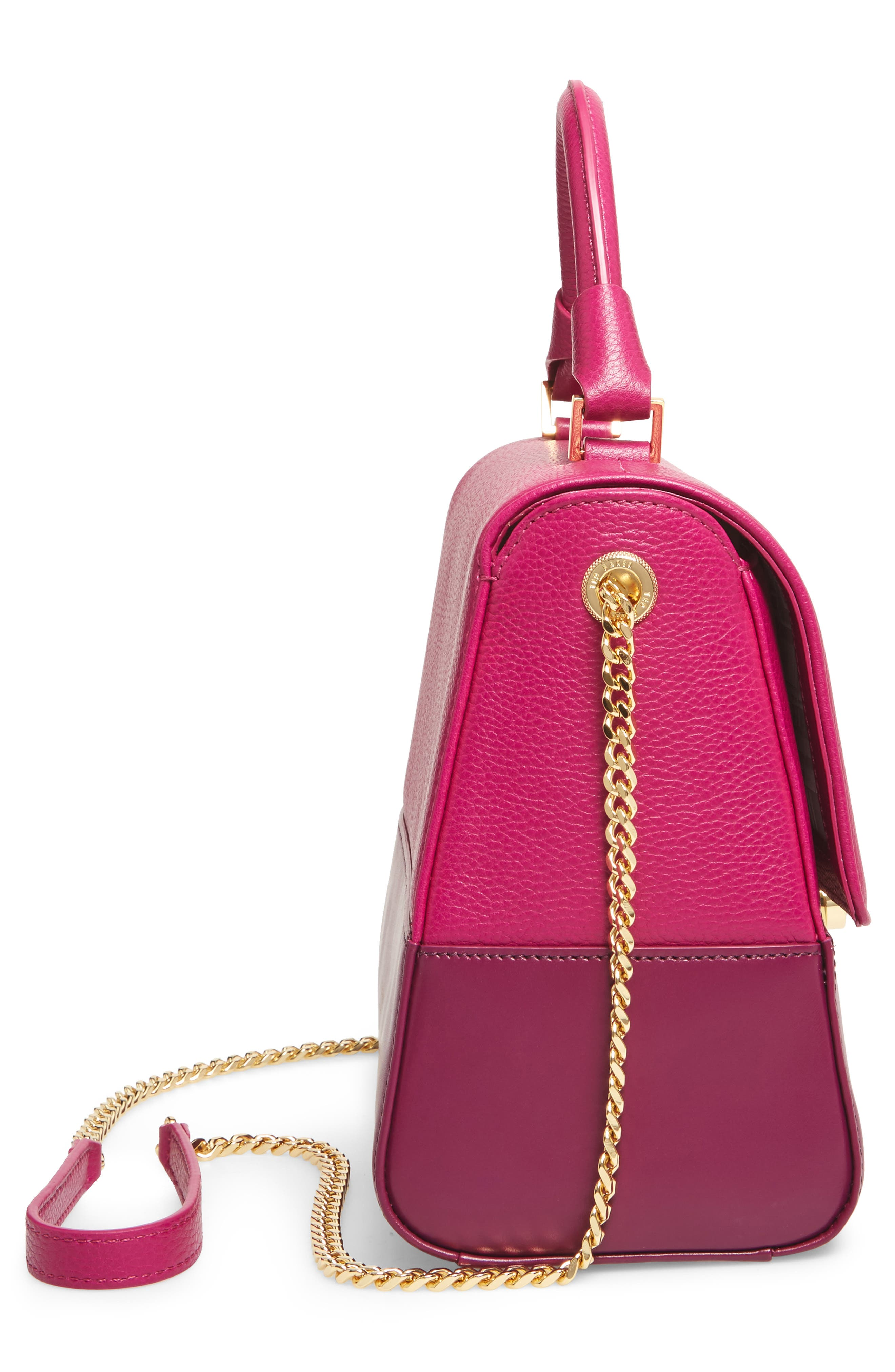 Shirley Leather Crossbody Bag,                             Alternate thumbnail 3, color,                             Bright Pink